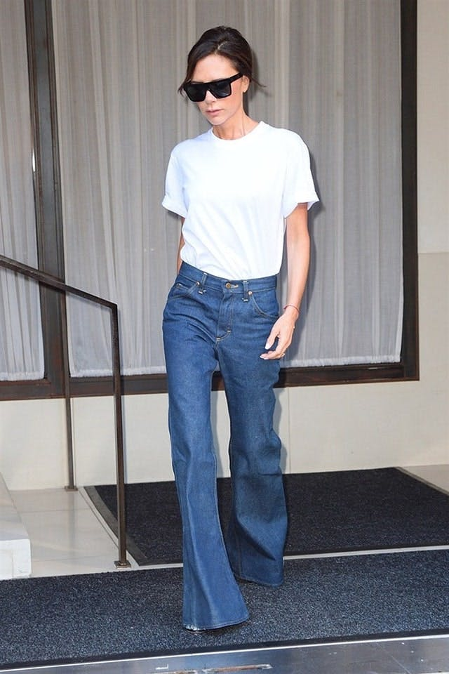 Victoria Beckham wearing flared trousers