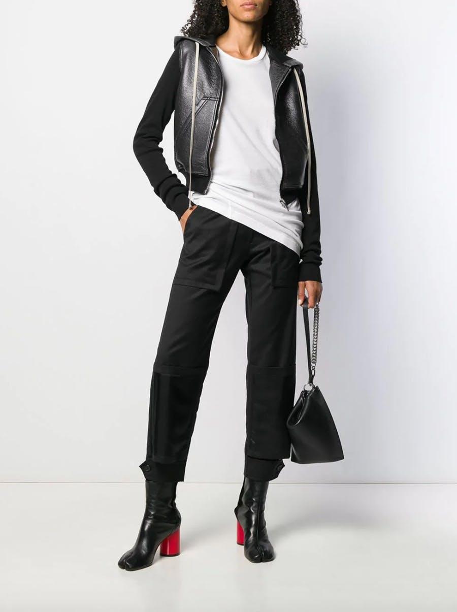 Rick Owens Drkshdw Leather Contrast Sleeve Hoodie in Black