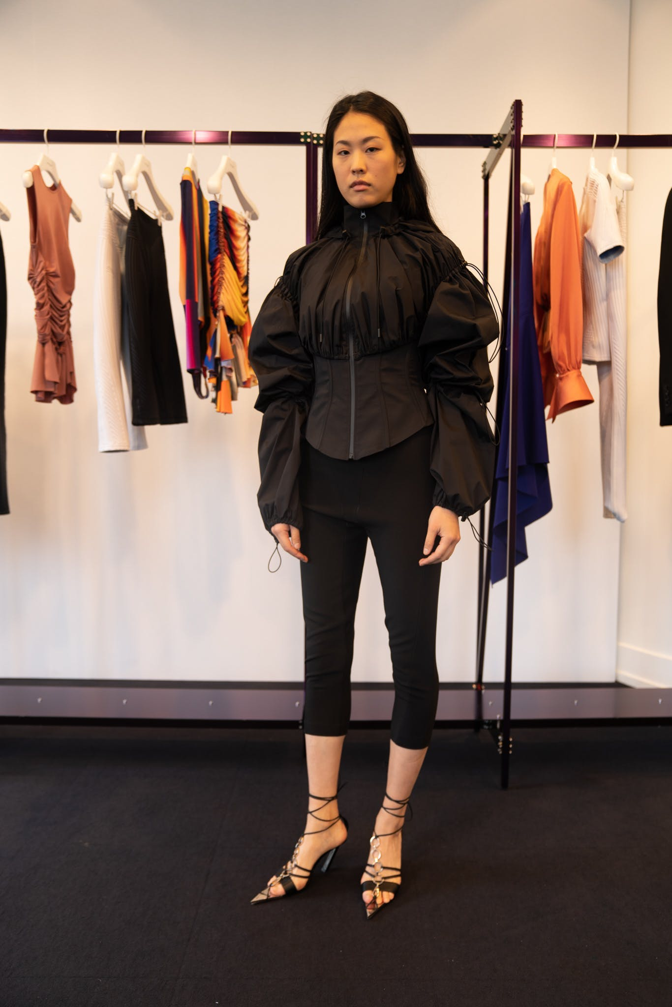 Mugler Showroom Parachute Drawstring Fullzip Jacket Three Quarter Length Leggins Tie Up Heels in Black Spring 20 RTW