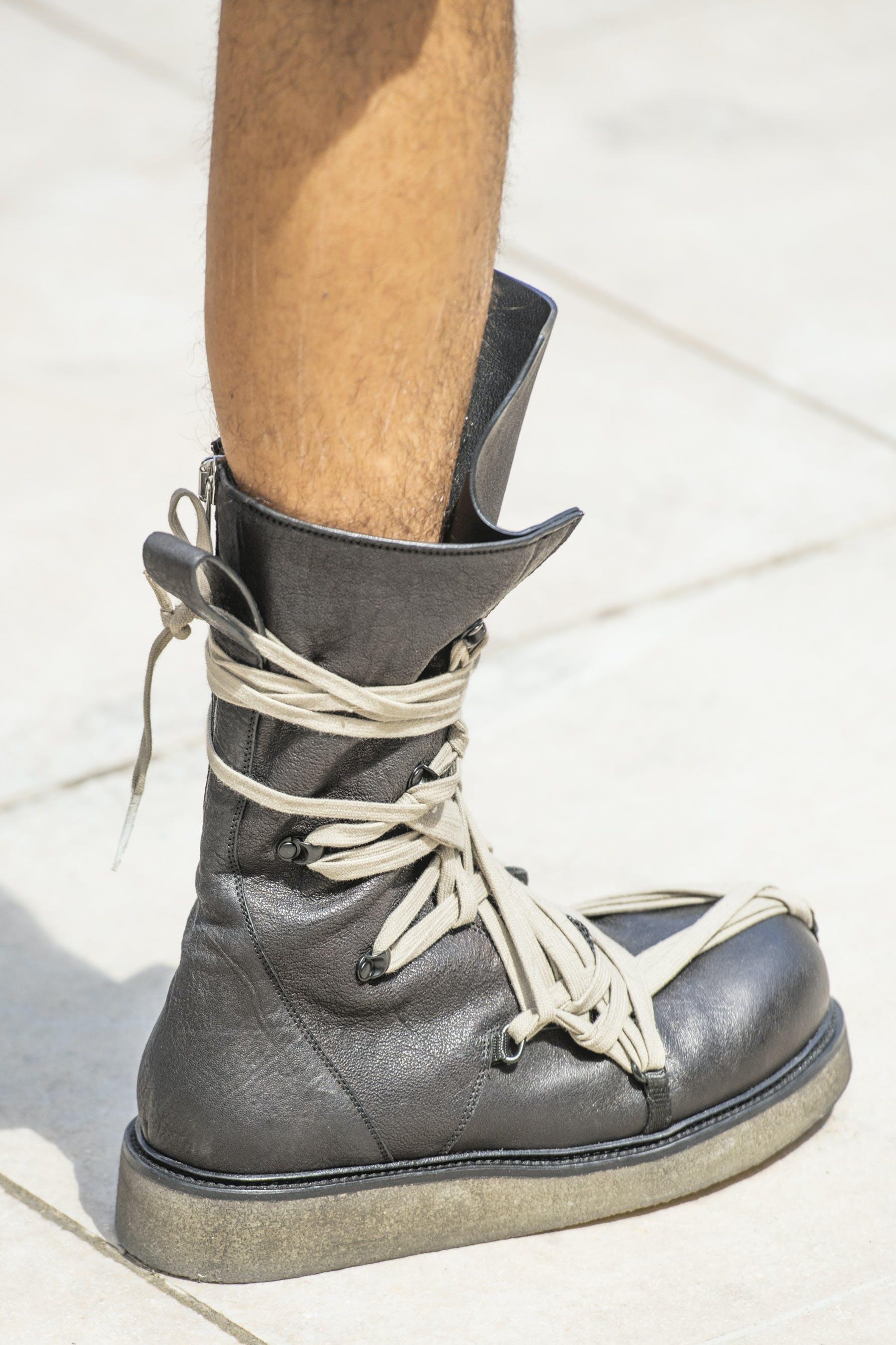 Rick Owens Runway Details Creeper Mega Lace Boots in Black Leather Mens SS20 Tecautl