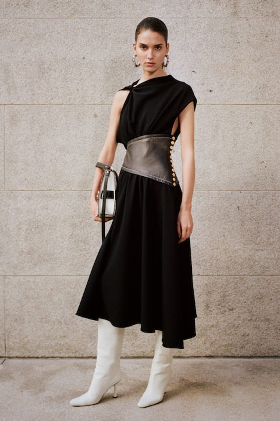 Proenza Schouler Belted Draped Dress in Black with Leather High Boots in White Leather Pre Fall 20