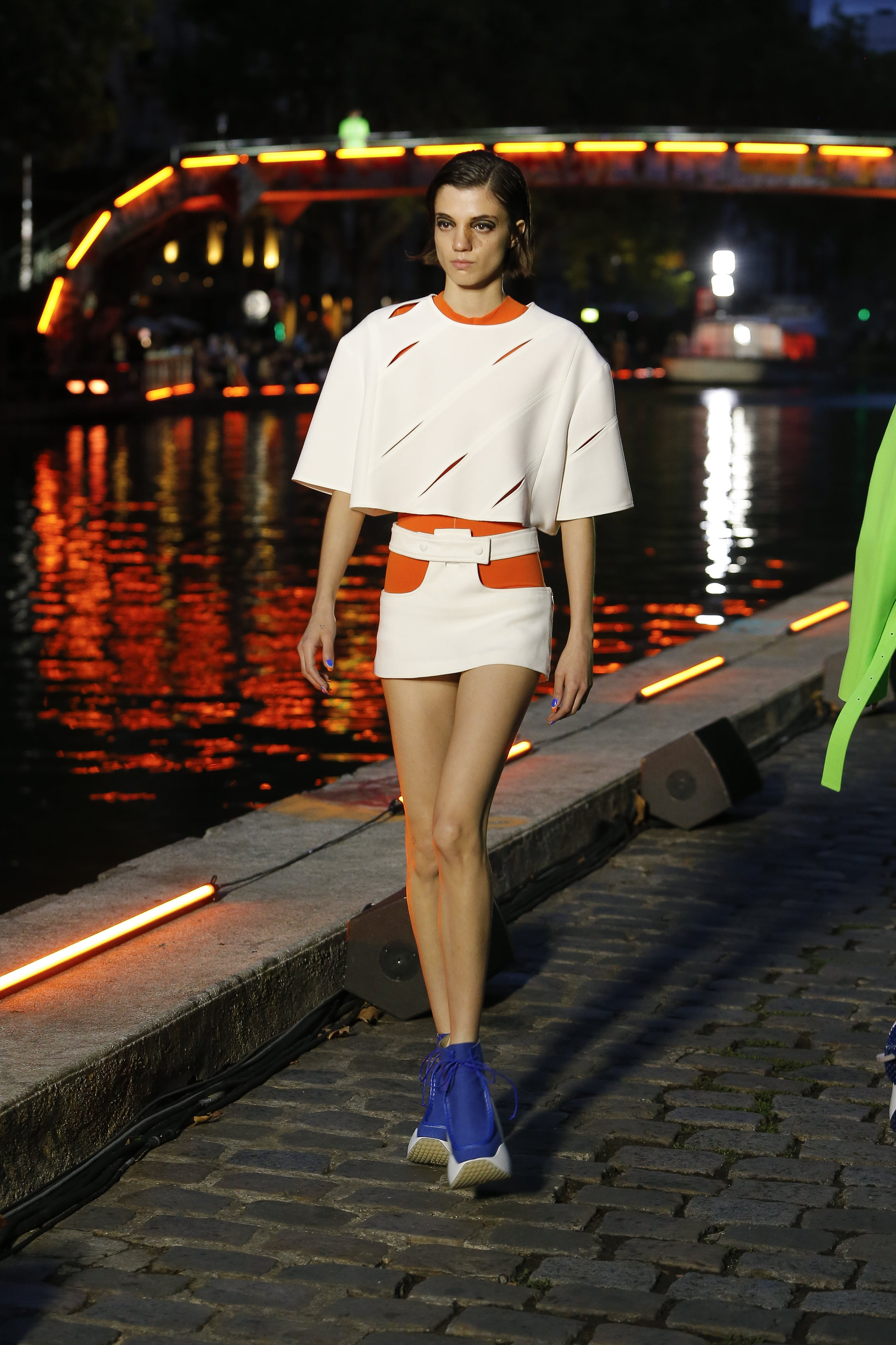 Courreges Runway Openwork Cutout Oversized Top in White Mini Skirt in White SS20