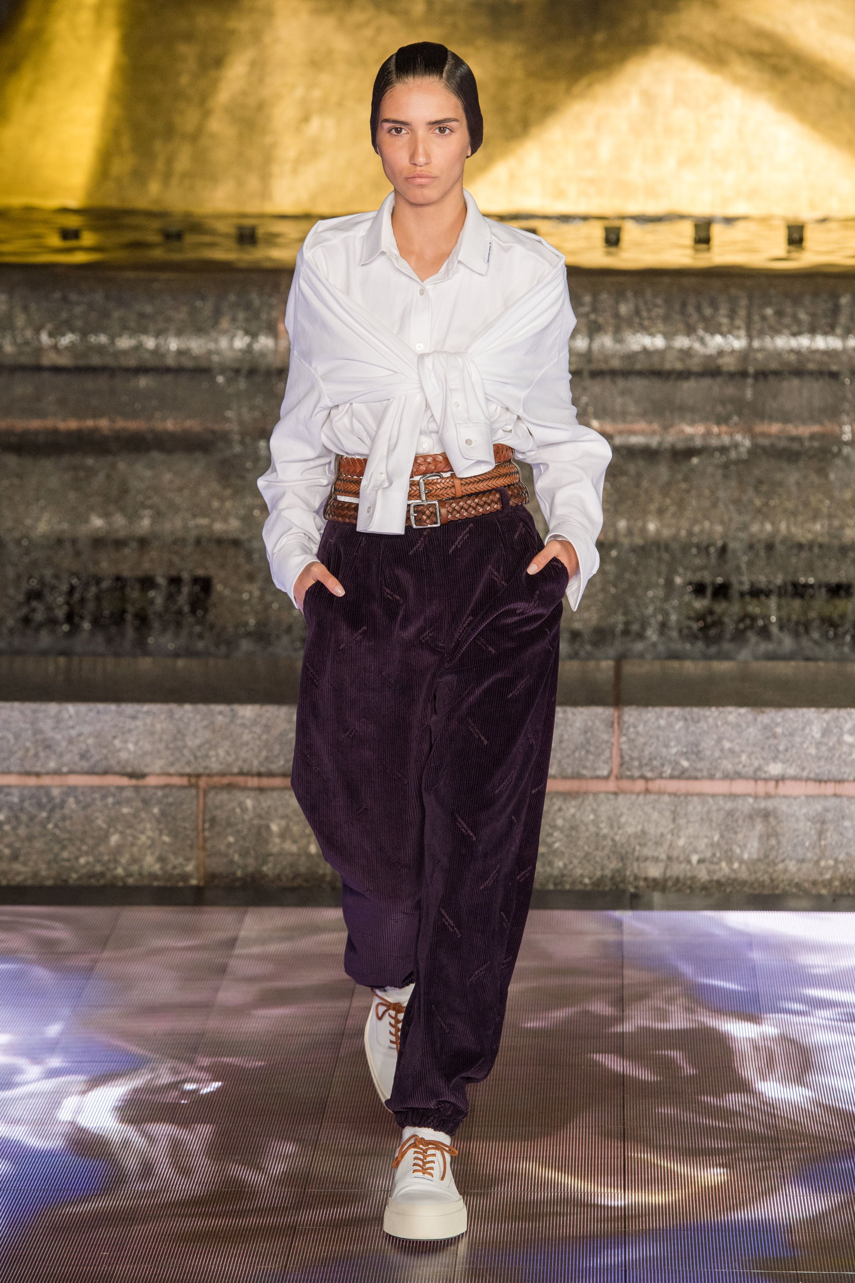 Alexander Wang Runway Tie Front Shirt in White Corduroy Logo-Print Trousers in Purple Spring 20 RTW