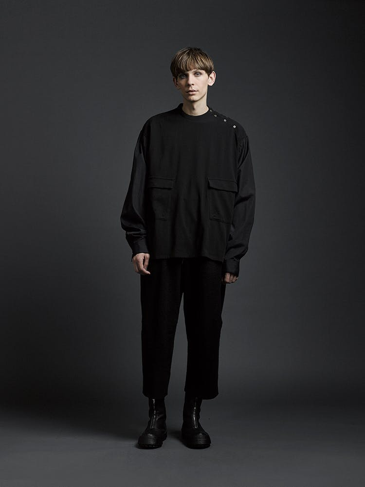 The Viridi-Anne Campaign Long Twisted Shirt in Black Loose Fit Trousers in Black AW19