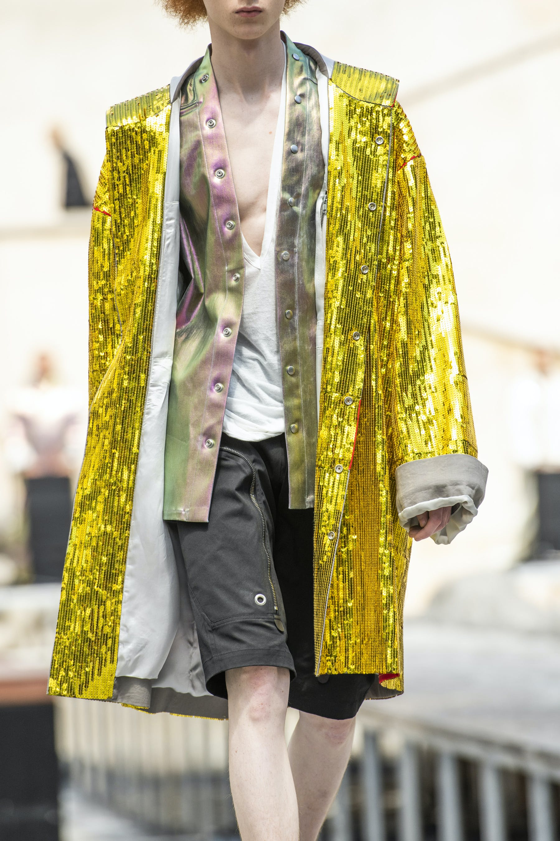 Rick Owens Runway Details Off The Runway Beach Hand Embroidered Sequins Parka In Yellow Cotton Larry Shirt In Iridescent Lemon Yellow Champion Collaboration V Neck T Shirt Full View Mens SS20 Tecautl