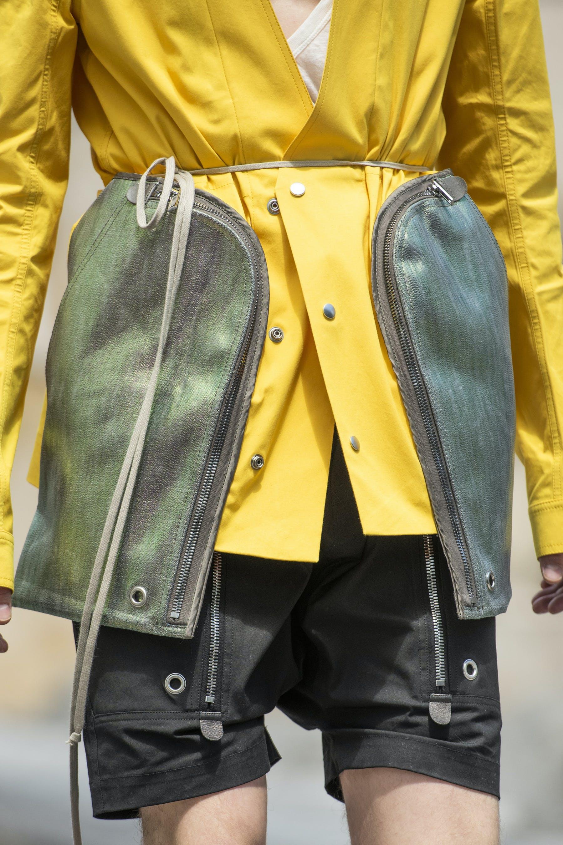 Rick Owens Runway Details Off The Runway Bauhaus Jacket In Lemon Yellow With Iridescent Pockets Cargo Pods In Black Mens SS20 Tecautl