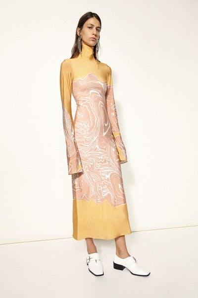 Ellery Turtle Neck Long Sleeve Print Dress Fall 19 RTW