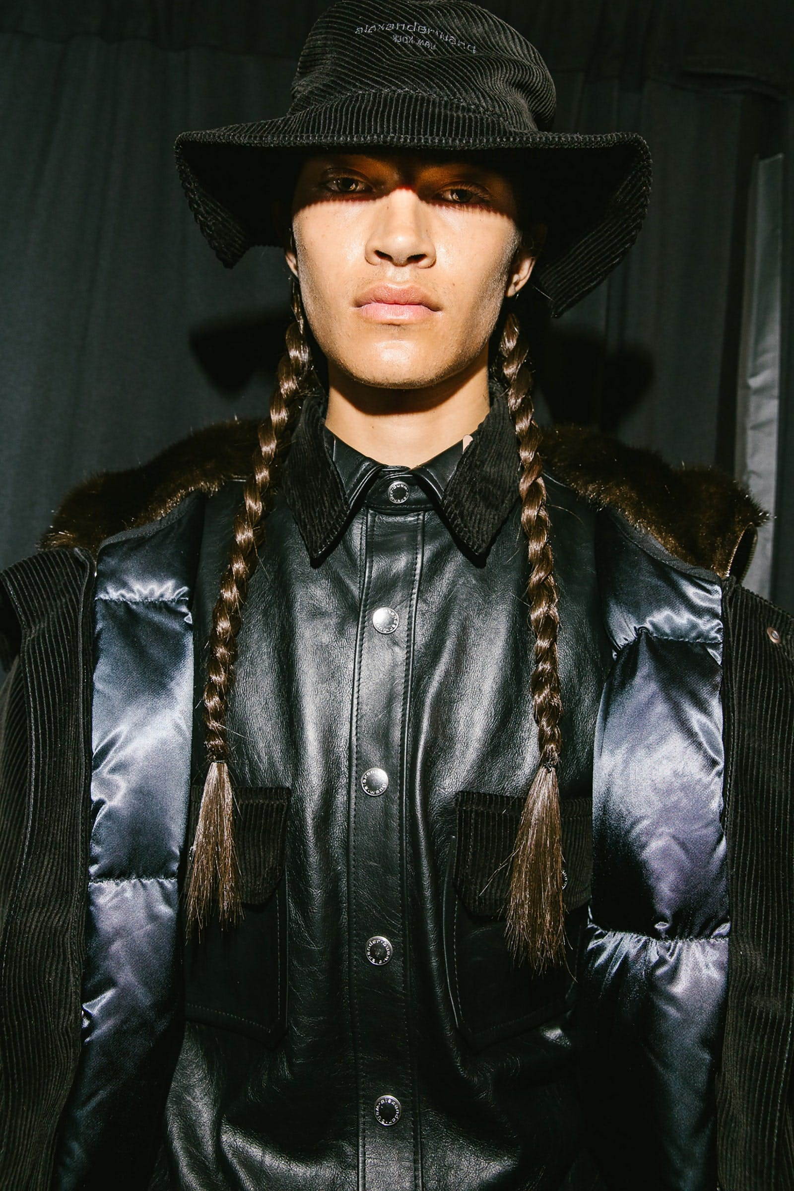 Alexander Wang Backstage Embroidered Corduroy Bucket Hat in Black Snap Button-up Leather Shirt Puffer Jacket in Black Spring 20 RTW