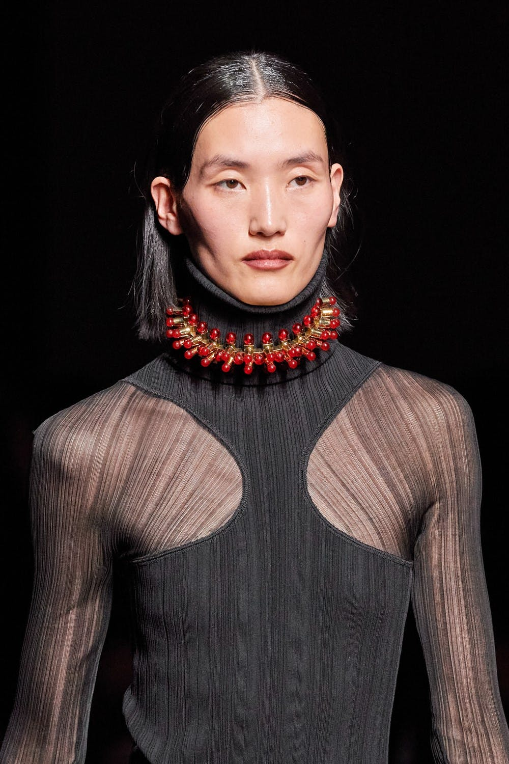 Mugler Runway Details Turtleneck Sheer Cutout Dress Chunky Choker in Gold Fall 20 RTW