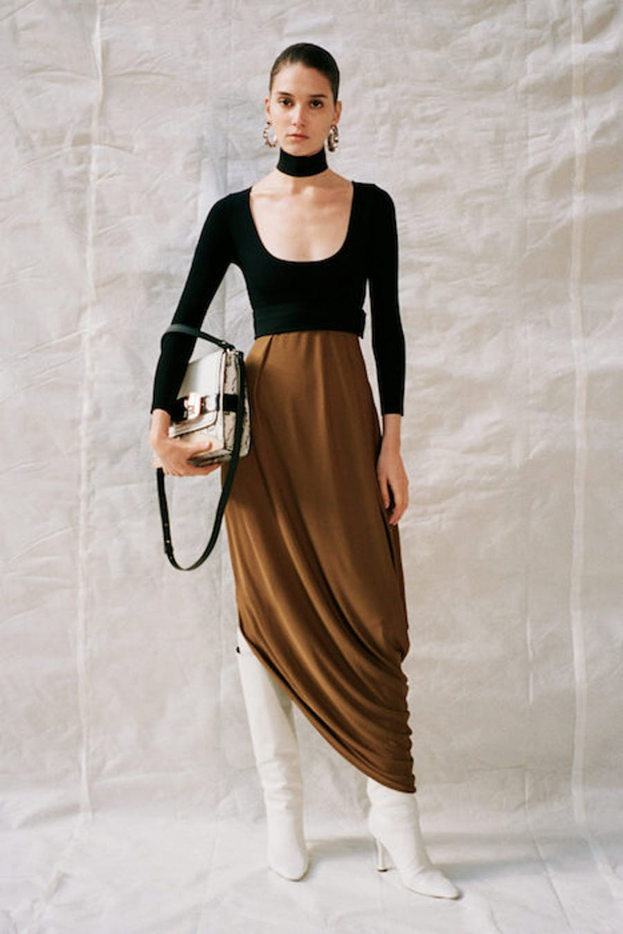 Proenza Schouler Scoop Neck Long Sleeve Top in Black Draped Long Ruched Skirt in Brown Pre Fall 20