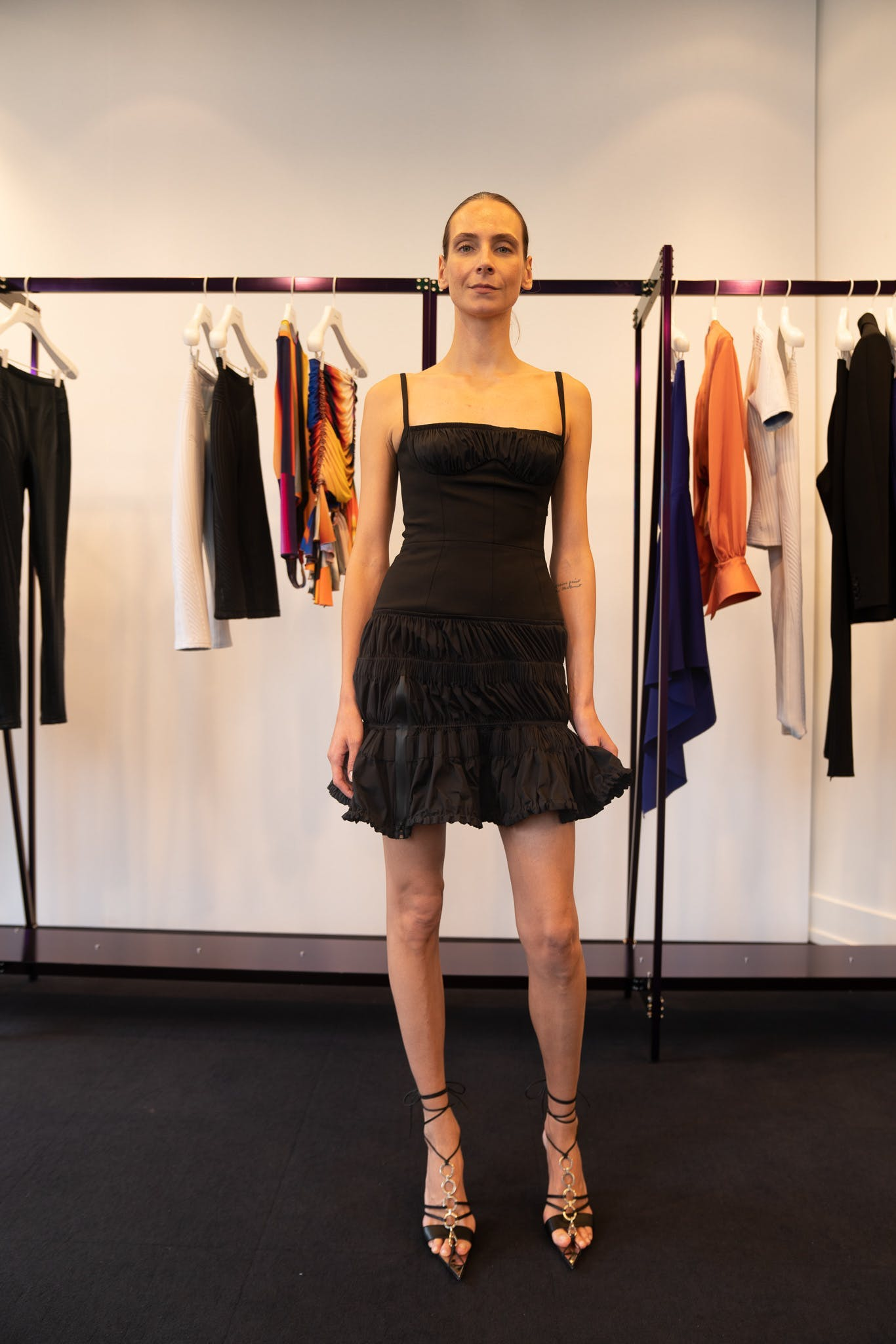 Mugler Showroom Sleeveless Ruffle Mini Dress in Black Tie Up Heels in Black Spring 20 RTW