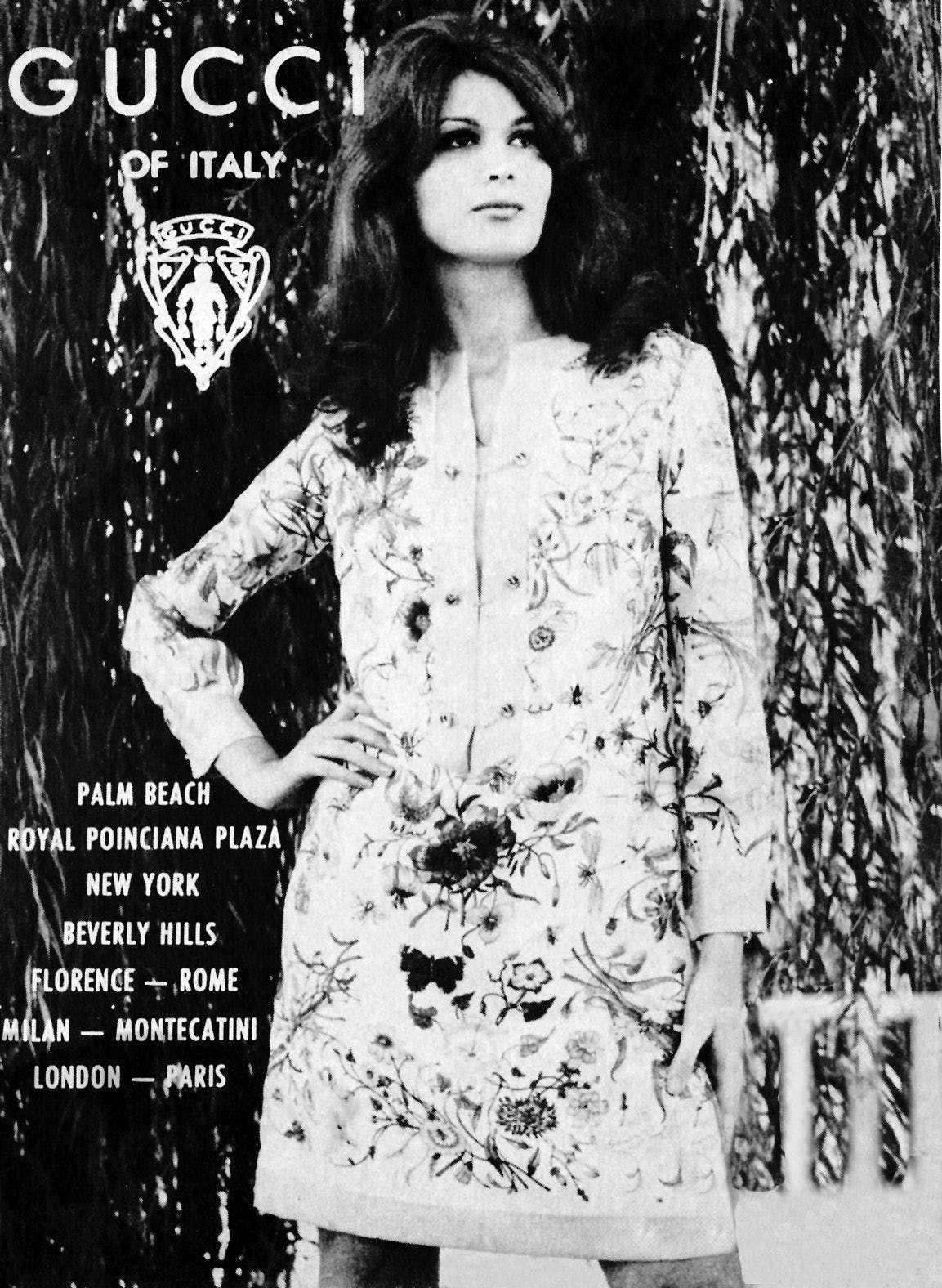 Vintage black and white poster from Gucci campaign
