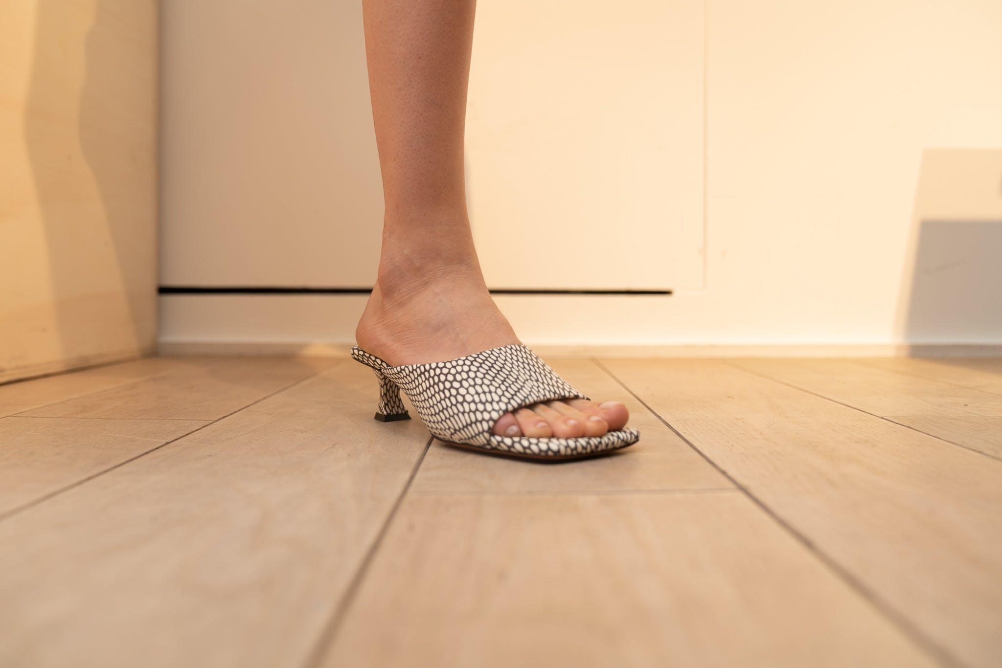 Proenza Schouler ShowroomMid Heel Sandal in Snake Skin Print SS20 RTW