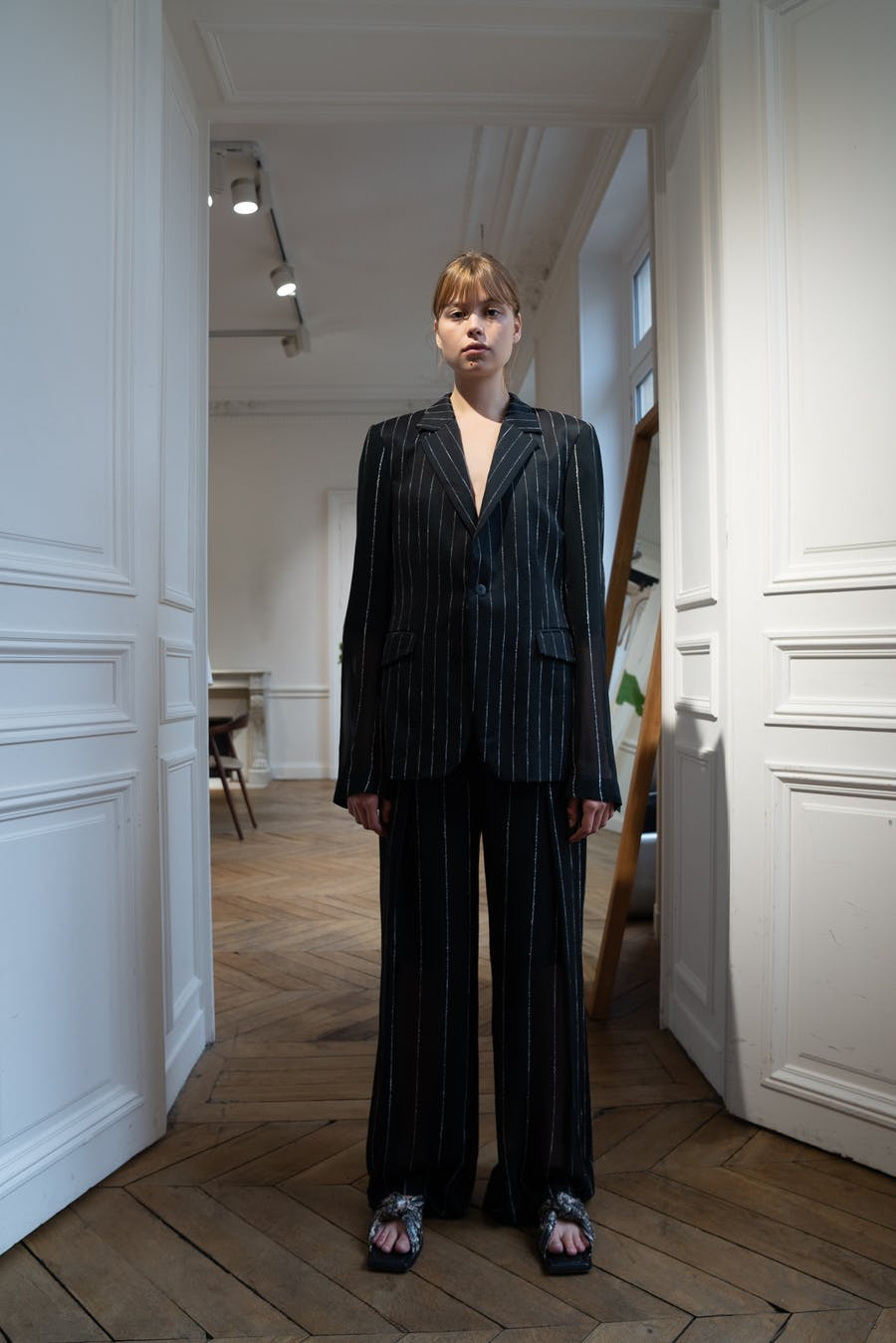 Dion Lee Backstage Chalk Stripe Gloat Blazer and Trousers in Black Spring 20 RTW