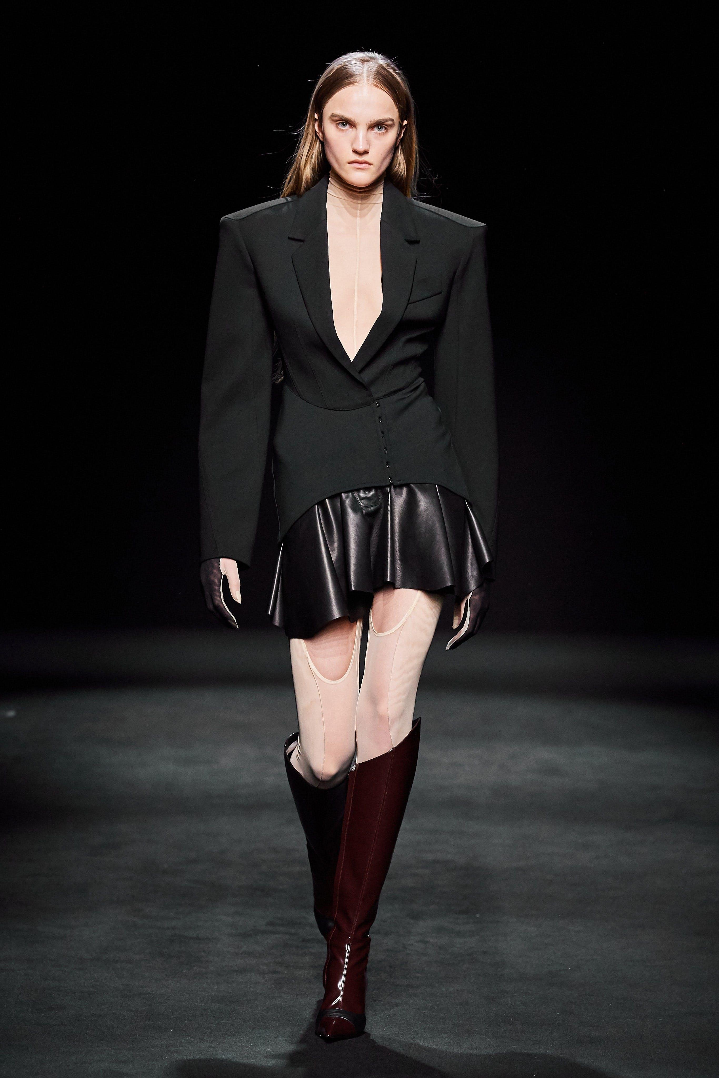 Mugler Runway Corset Jacket in Black Full Panel Bodysuit Leather Ruffle Skirt Fall 20