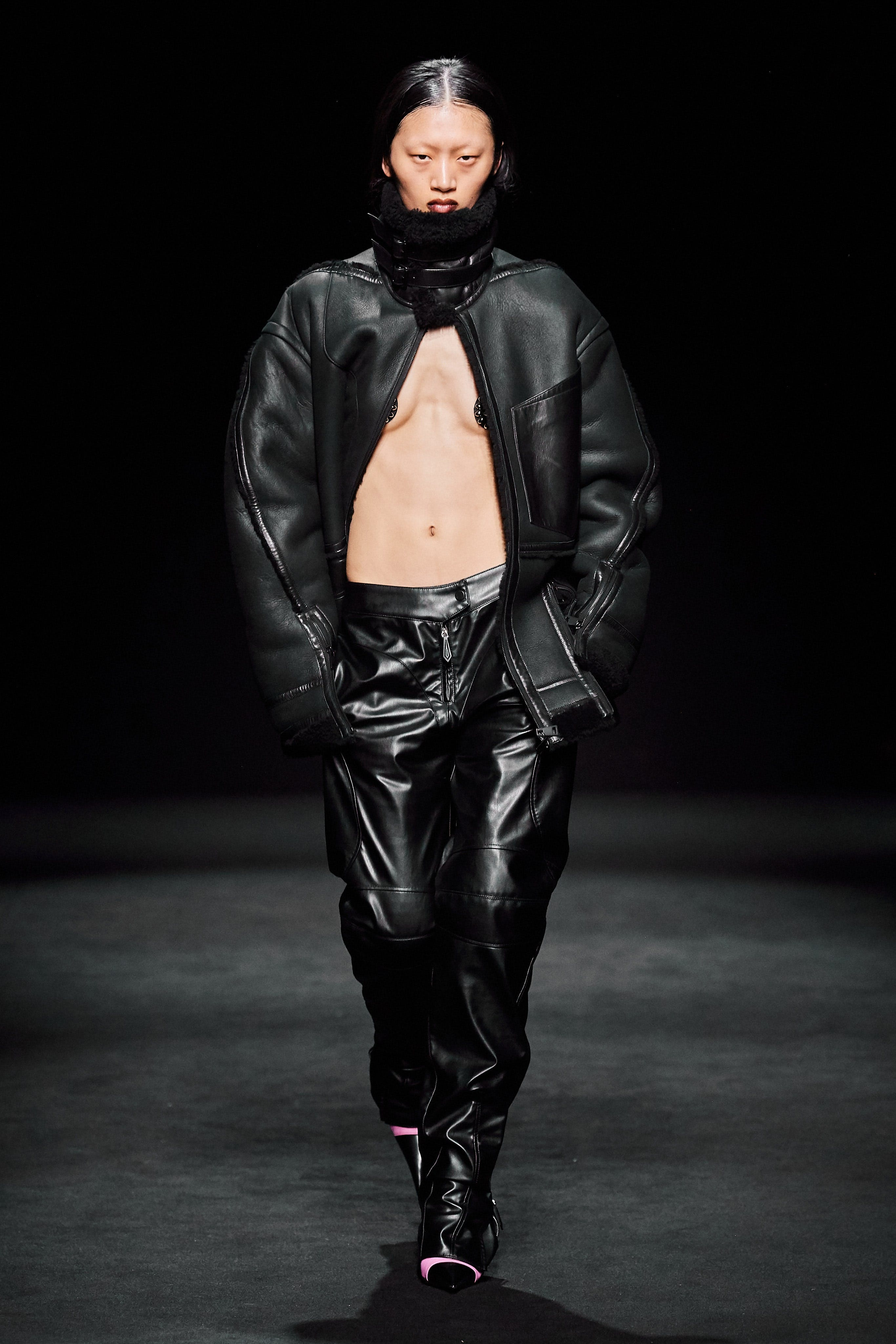 Mugler Runway Sherpa Leather Jacket in Black Loose Fit Leather Trousers in Black Fall 20