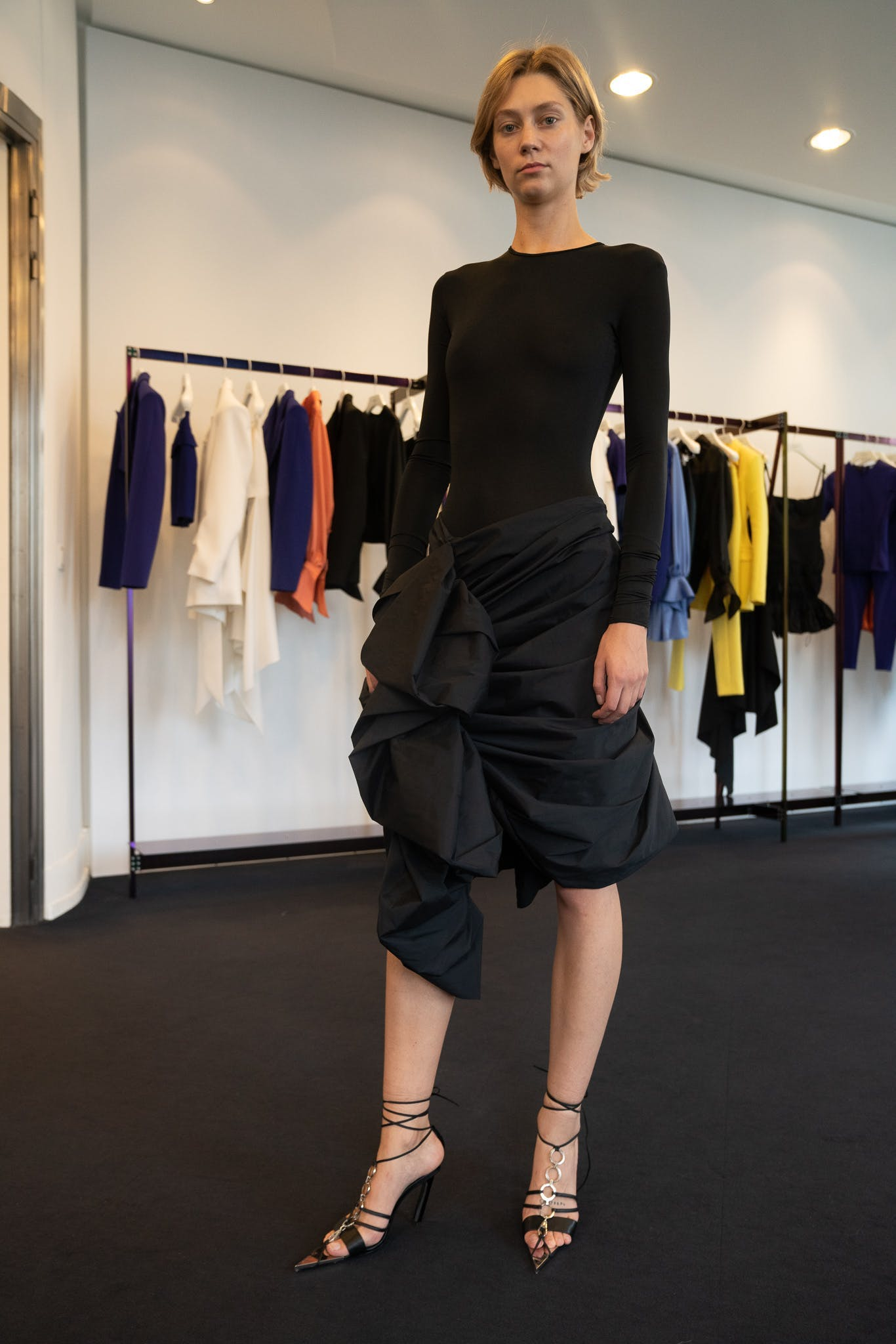 Mugler Bodysuit in Black Ruched Ruffle Skirt Spring 20 RTW