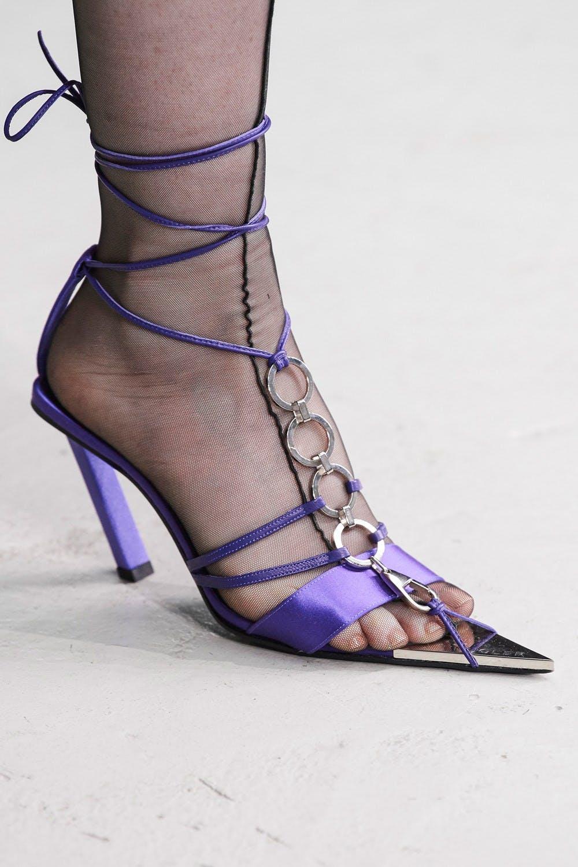 Mugler Runway Details Tie Up Pointed Heels in Purple Spring 20