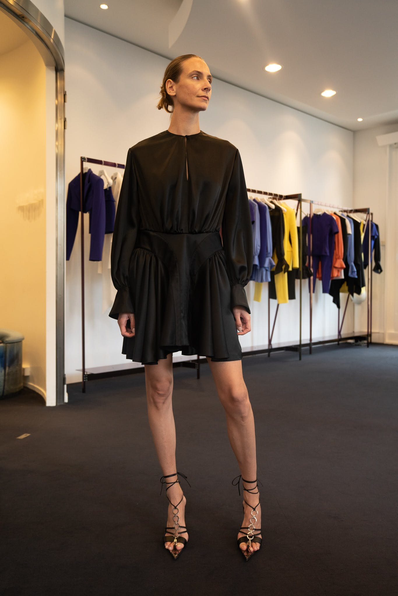 Mugler Showroom Keyhole Long Sleeve Ruffle Mini Dress in Black Tie Up Wrap Heels in Black Spring 20 RTW