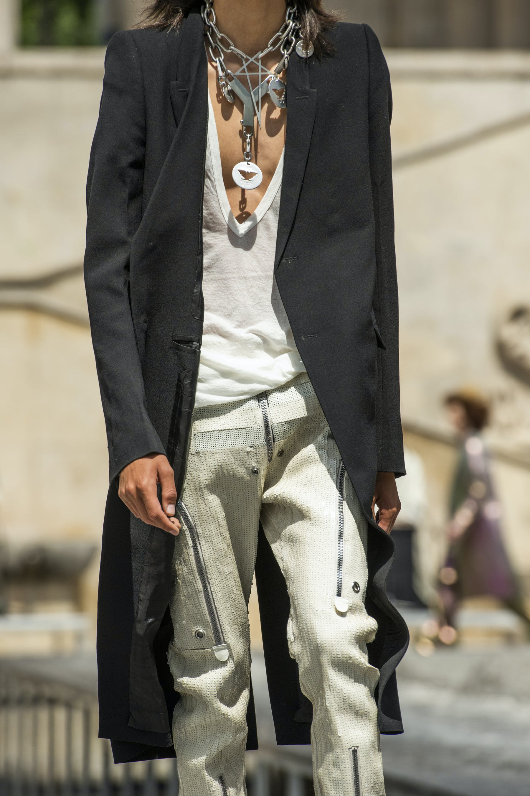 Rick Owens Runway Details Long Coat in Black Champion Collaboration V Neck T Shirt  Bauhaus Hand Embroidered Sequins Cargo Pants in White Mens SS20 Tecautl