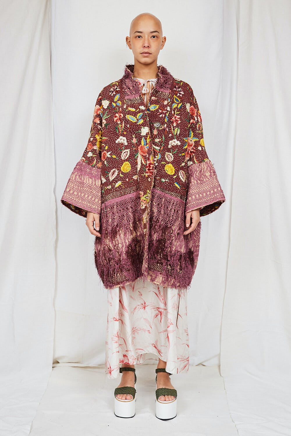 By Walid Womenswear Floral 19th Century Piano Shawl Jacket Front SS20