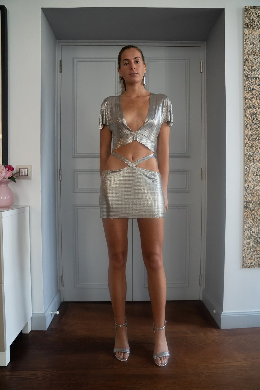 Fannie Schiavoni Diane Top in Silver Side Cut Out Skirt in Silver SS20