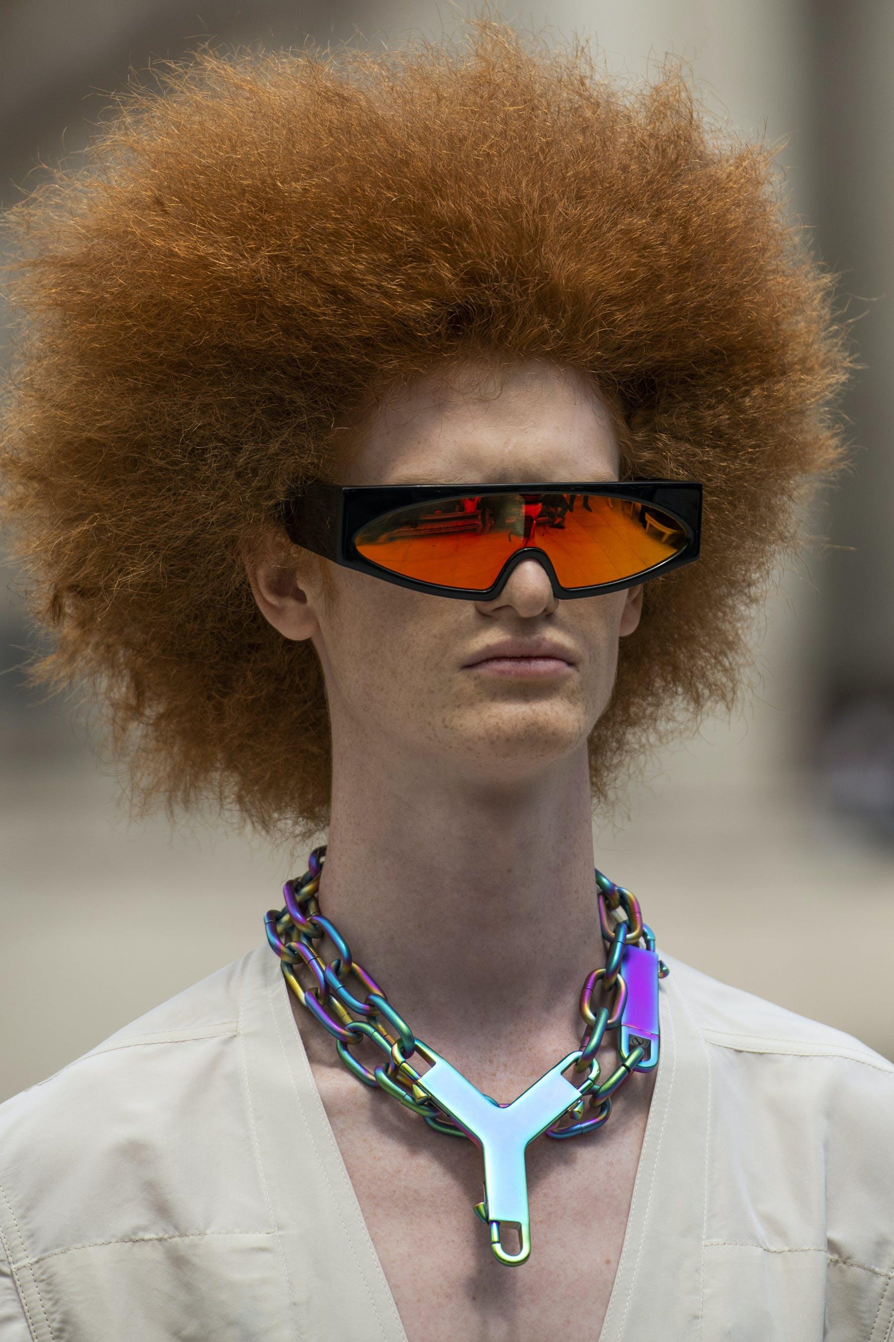 Rick Owens Runway Details Retro Futuristic Black Rectangular Framed Sunglasses Red Reflective Lenses Larry Shirt In White Mens SS20 Tecautl