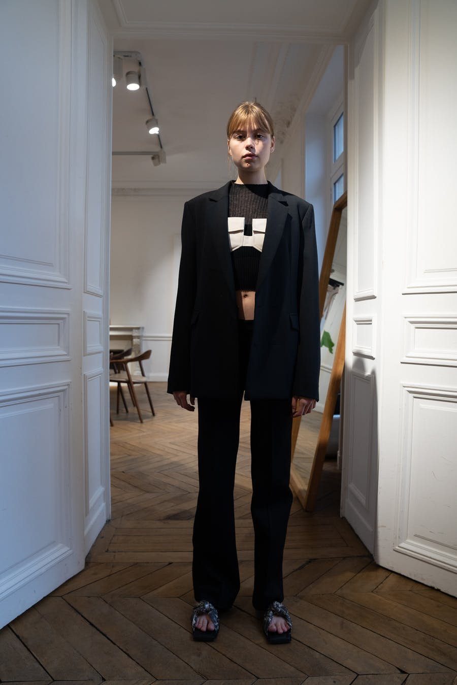 Dion Lee Backstage Oversized Blazer in Black Cotton Rib Tee in Black Cotton Pocket Holster in White Low Rise Pocket Trousers in Black Spring 20 RTW