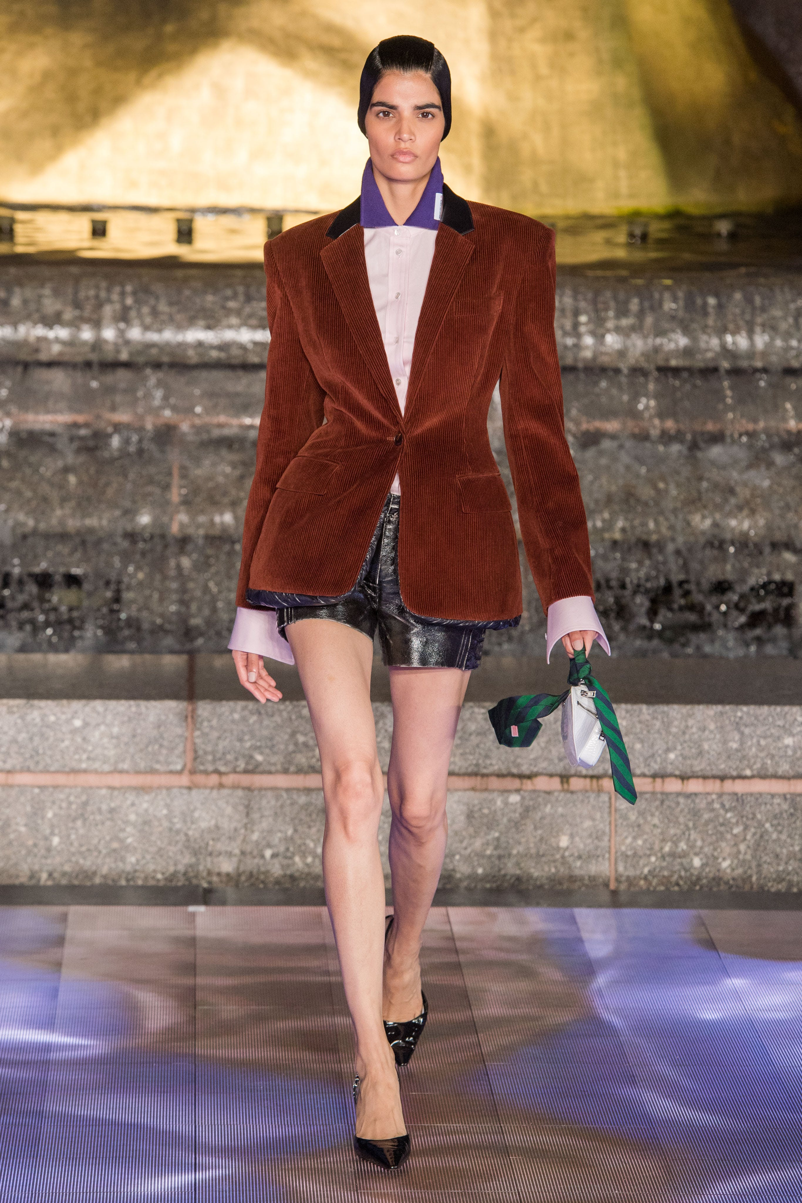 Alexander Wang Runway Color Blocked Logo Tab Polo Corduroy Padded Collegiate Blazer in Brown Leather Logo Shorts Spring 20 RTW