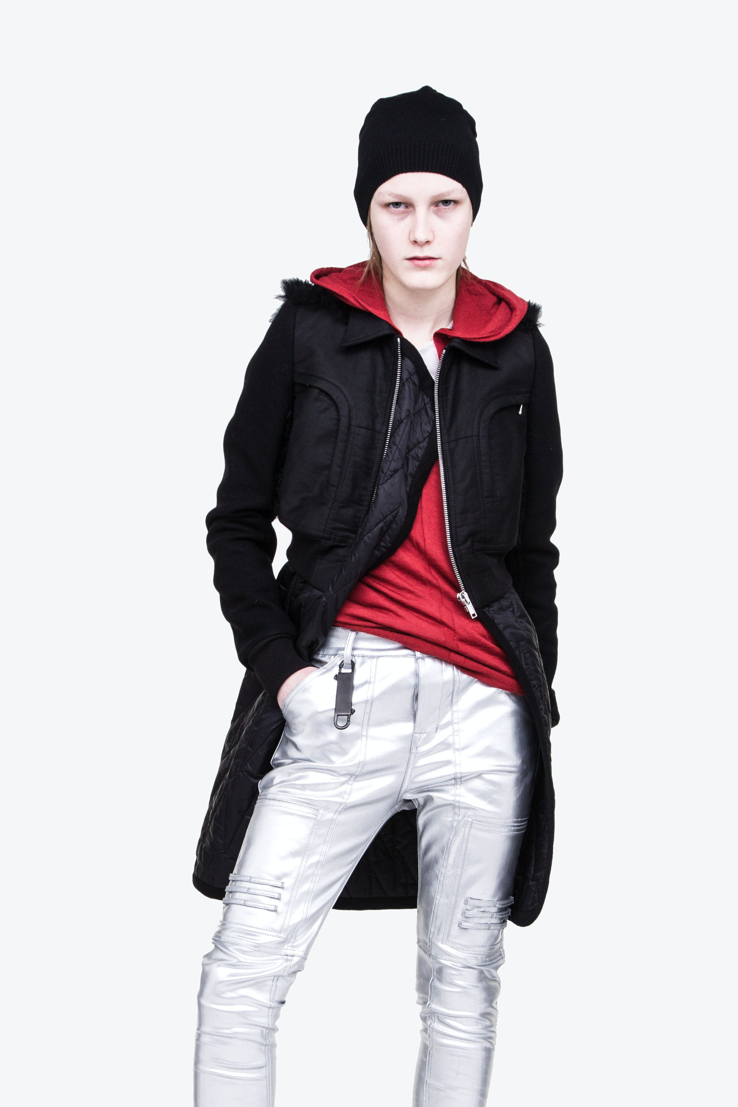 Rick Owens Campaign Wool Beanie in Black Zip Up Hoodie in Red Babel Cropped Jacket Metallic Pants Womens SS19 Babel