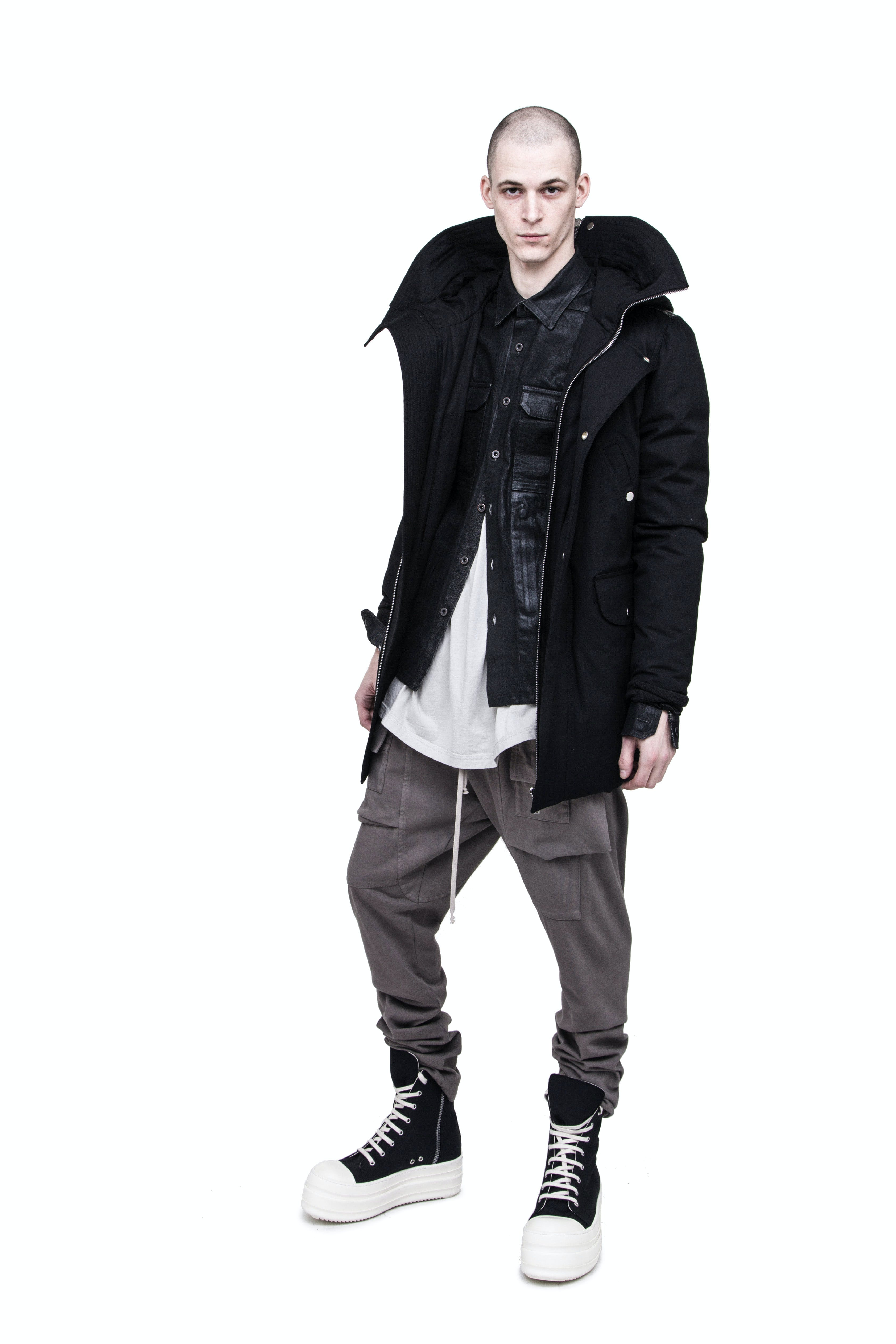 Rick Owens Campaign Parka Brother Jacket in Black Waxed Shirt Jacket in Black Memphis Cargo Trousers Double Bumper Ramones in Black Mens SS19 Babel