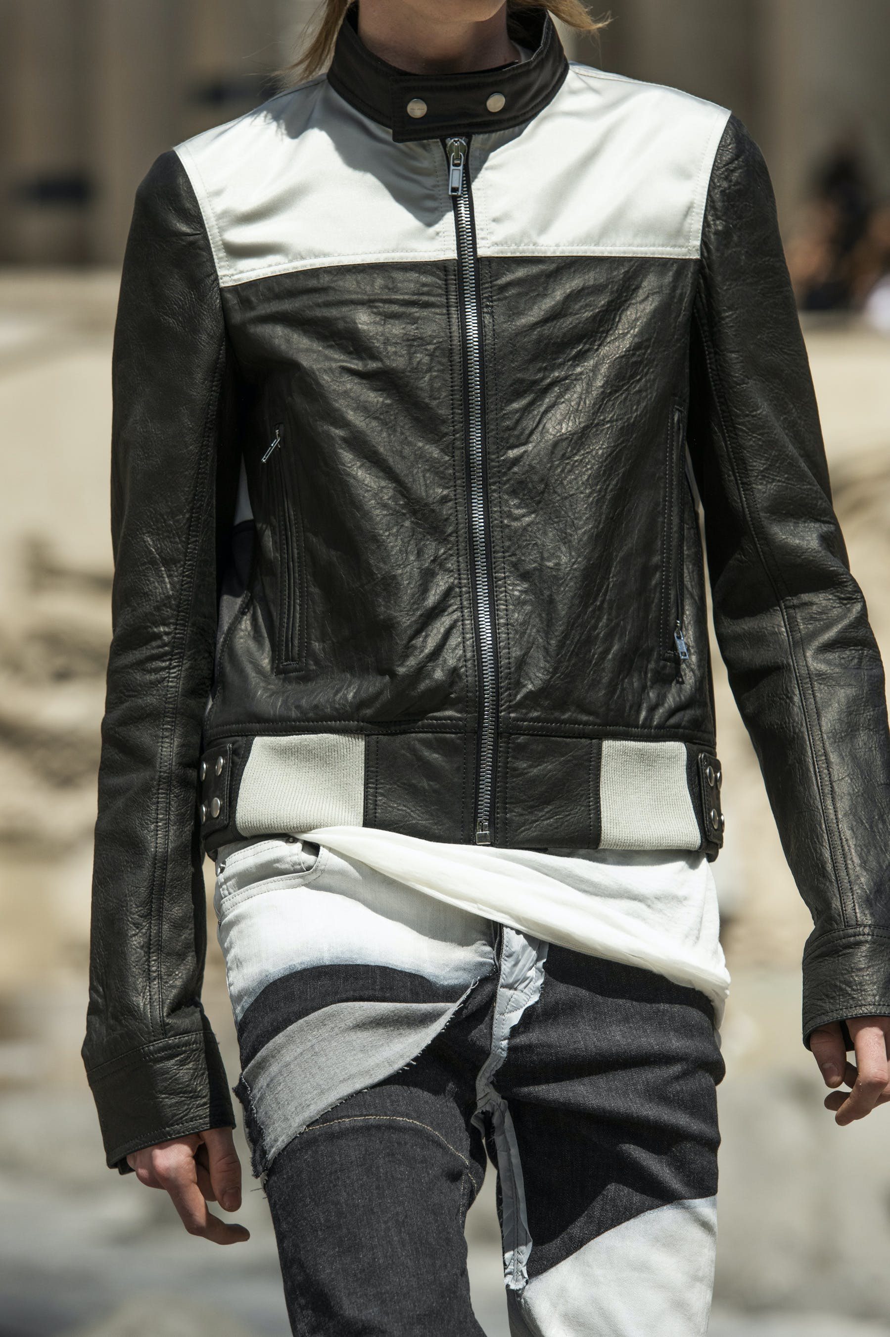 Rick Owens Runway Details Off The Runway Glitter Jacket In Black Leather Tyrone Collage Jeans Mens SS20 Tecautl