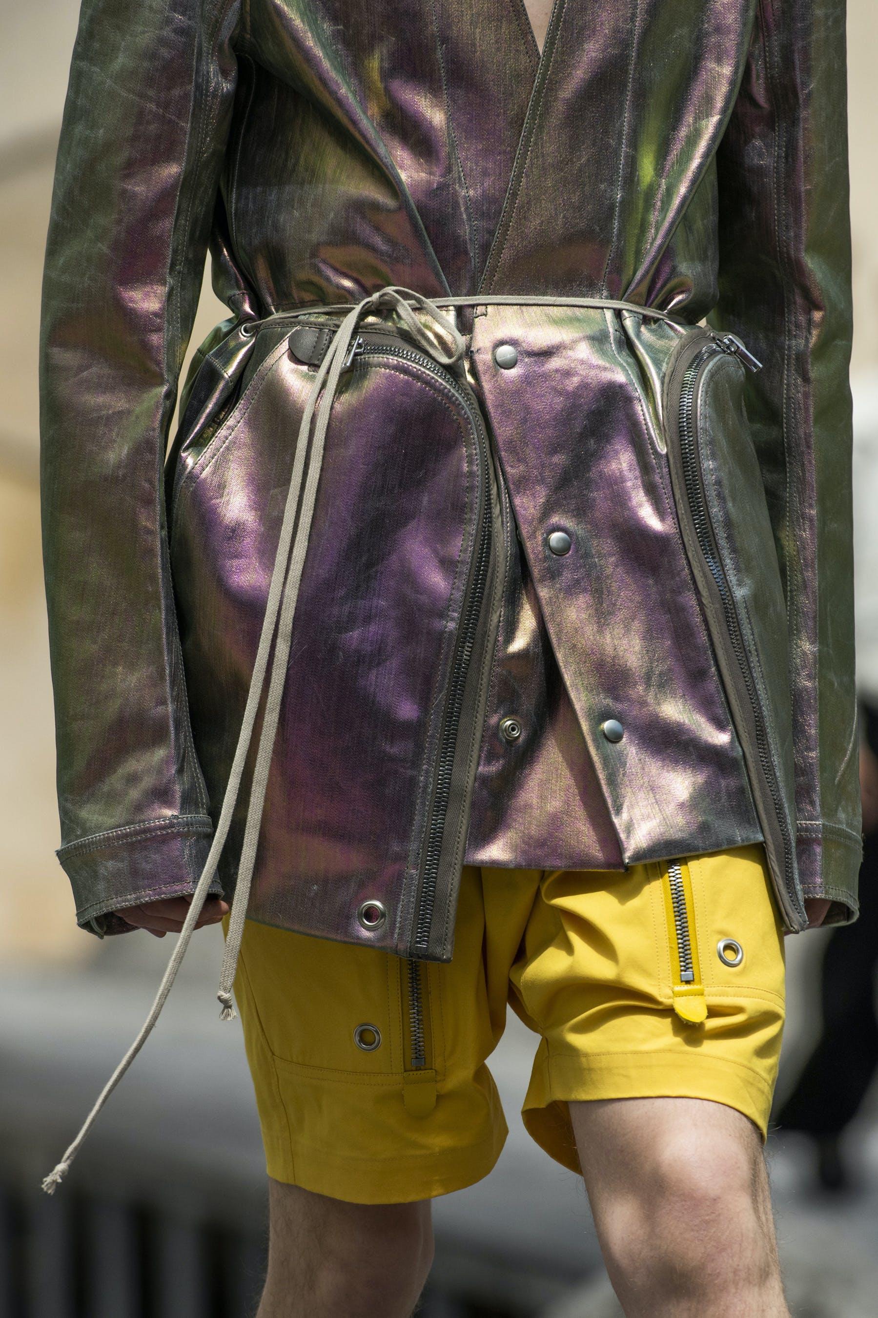 Rick Owens Runway Details Off The Runway Bauhaus Jacket In Iridescent Lemon Yellow Cargo Pods In Lemon Yellow Mens SS20 Tecautl