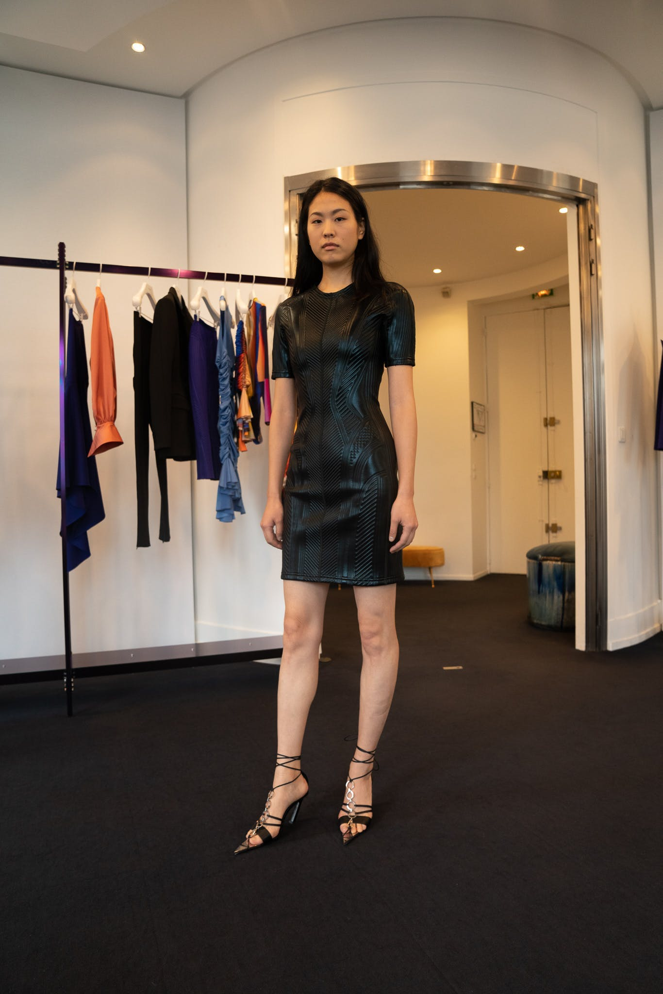 Mugler Showroom Scuba Short Sleeve Embossed Mini Dress in Black Spring 20 RTW