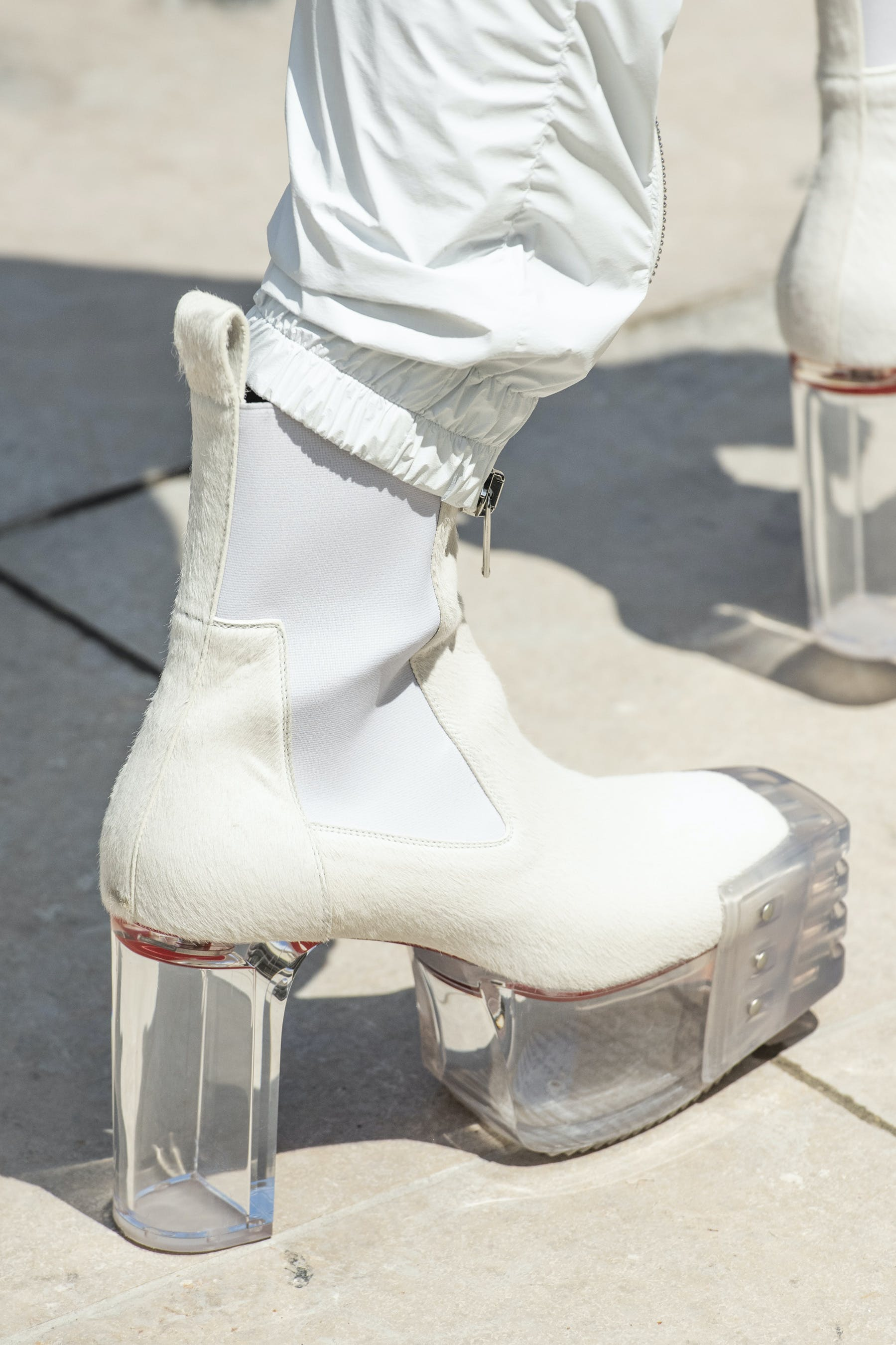 Rick Owens Runway Details Elastic Kiss Grill Boots In White With Transparent Heel Back View Mens SS20 Tecautl