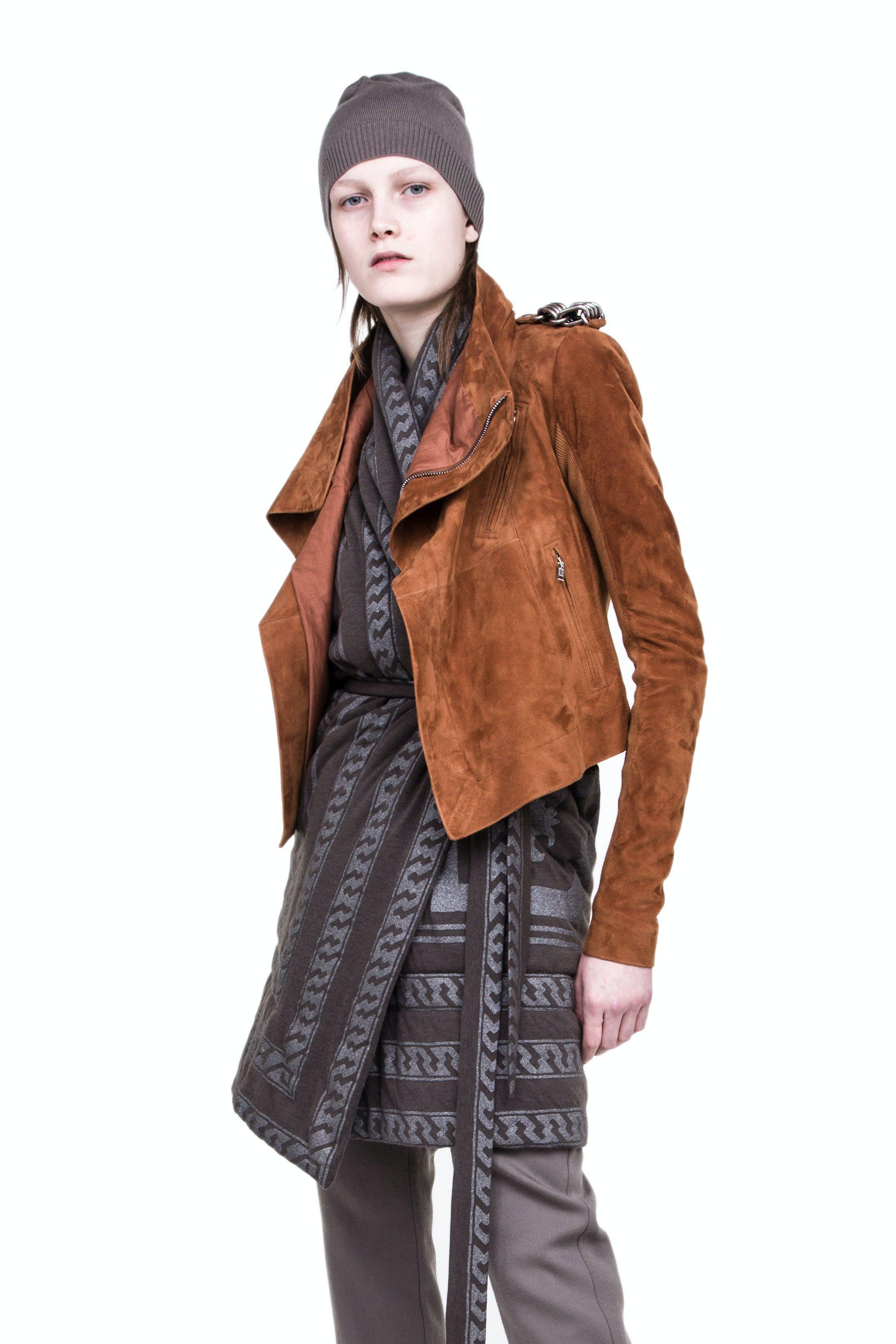 Rick Owens Campaign Wool Beanie in Grey Suede Classic Biker Jacket in Brown Tie Print Cardigan Womens SS19 Babel