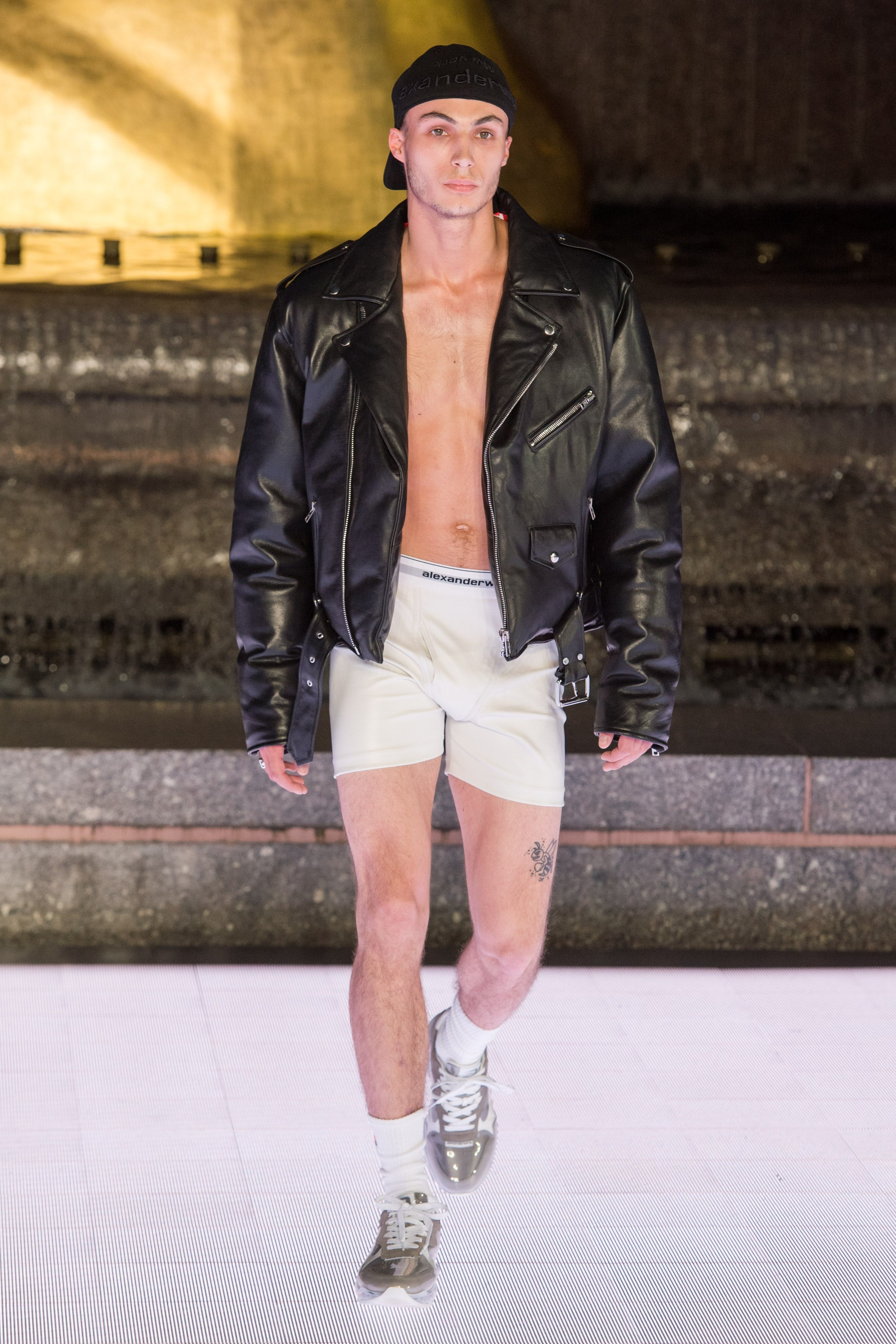 Alexander Wang Runway Oversized Leather Moto Jacket Logo Elastic Boxers in White Awnyc Stadium Sneaker Spring 20 RTW
