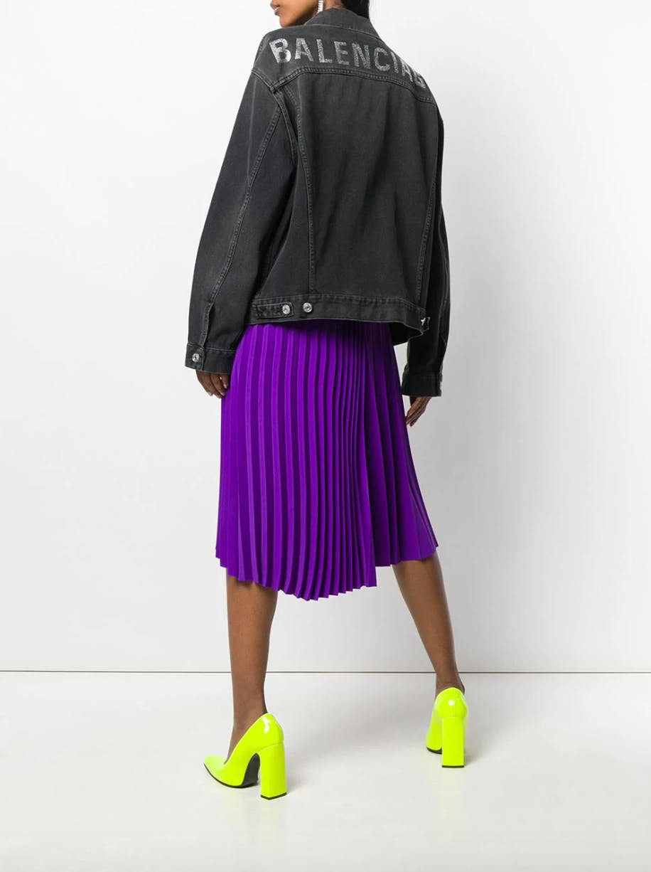 balenciaga washed black denim logo jacket purple skirt lime green heels