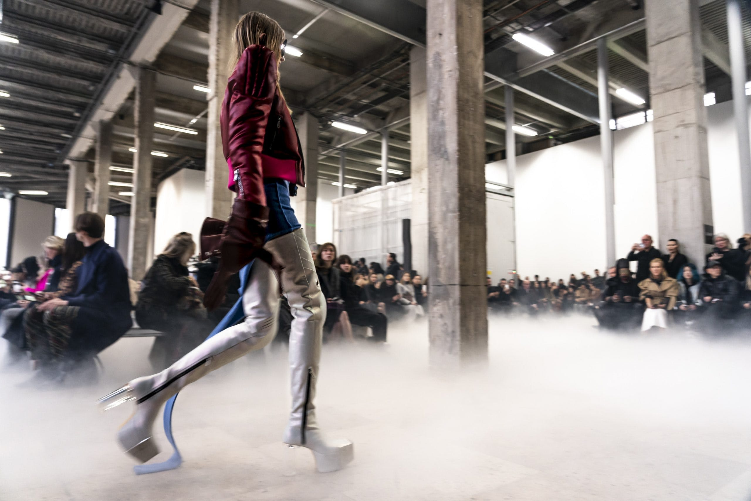 Rick Owens Runway Sharp Shoulder Flight Jacket Knot Dress in Blue Thigh High Leather Kiss Grill Boots in White With Transparent Heel Womens FW20 Performa