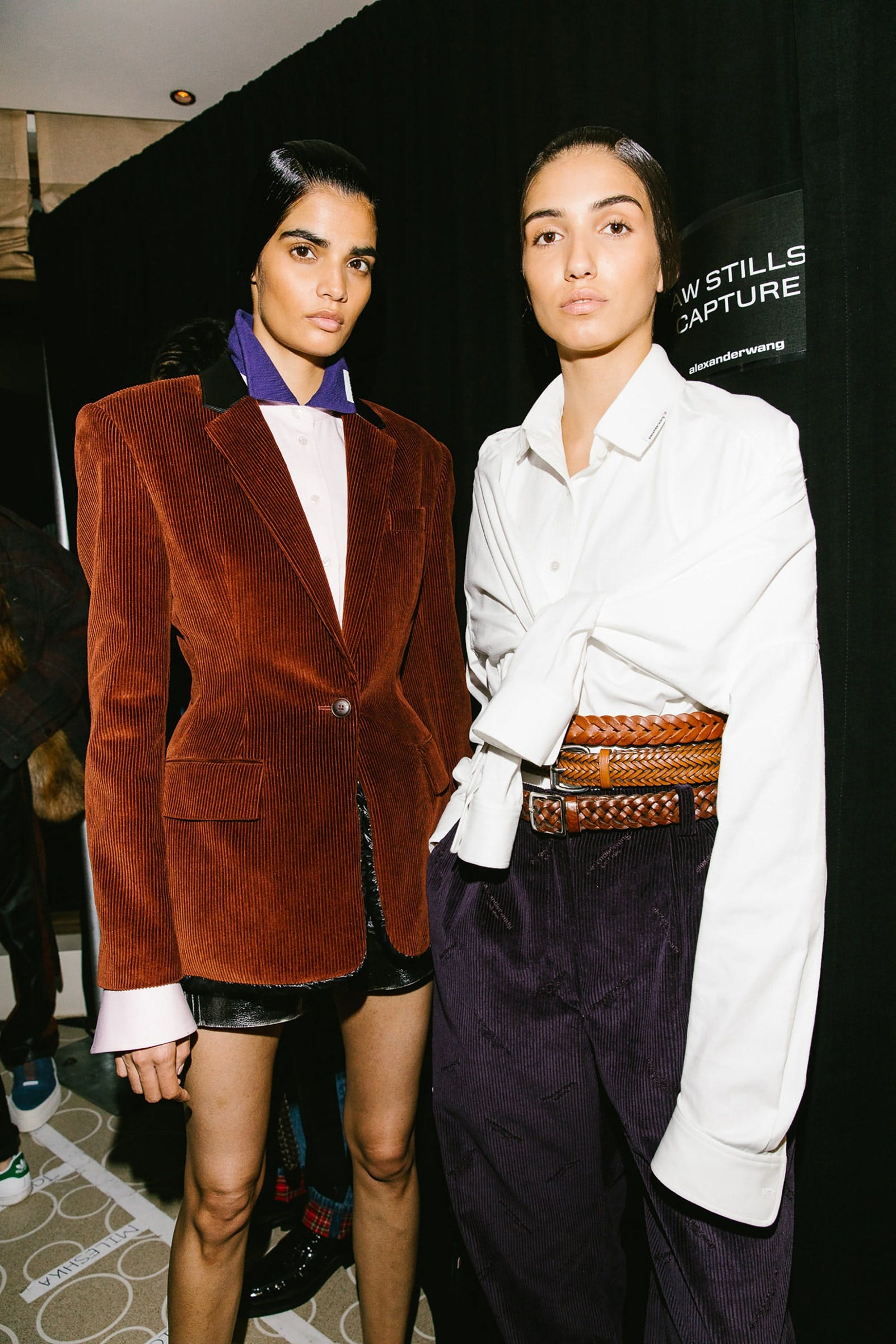 Alexander Wang Backstage Models in Padded Corduroy Collegiate Blazer in Brown and Front Tie Longsleeve Shirt in White Spring 20 RTW