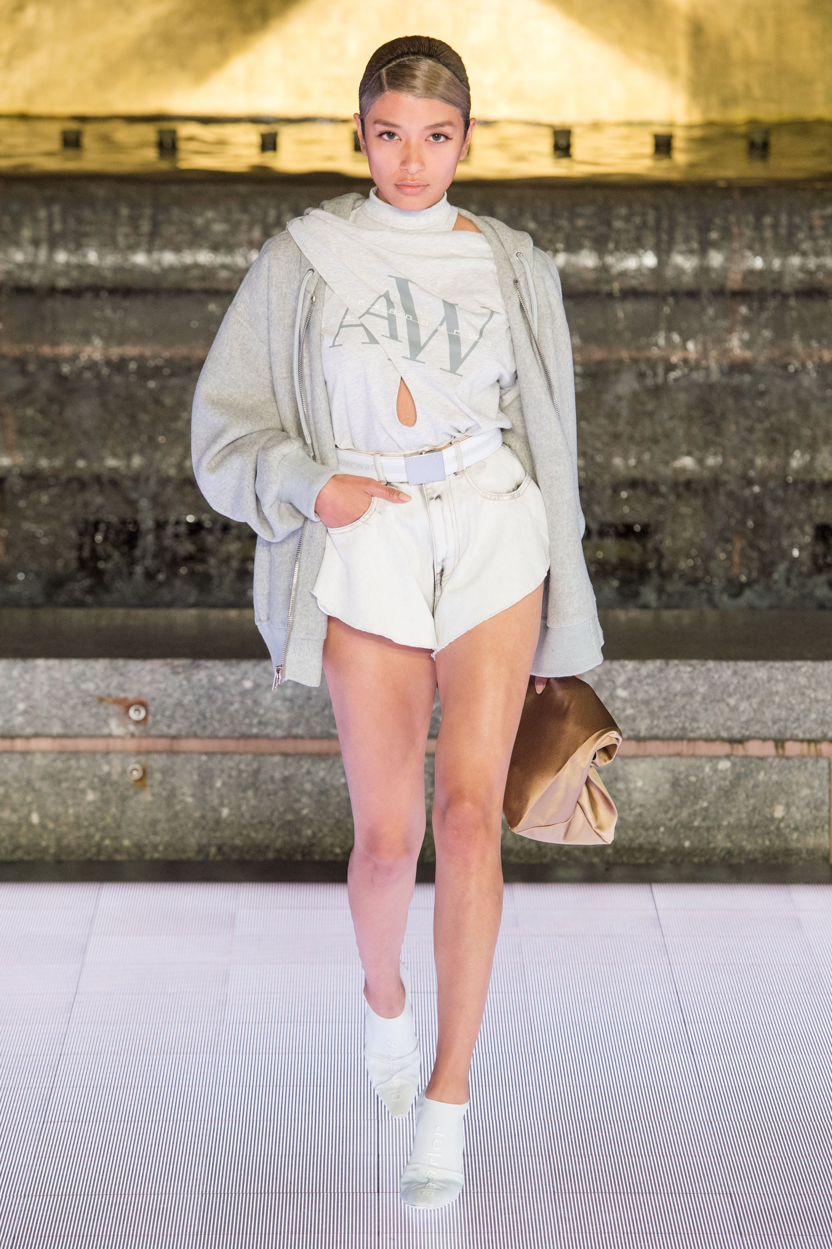 Alexander Wang Runway Oversized Zipup Hoodie in Light Grey Tie-Neck Logo Tee in White Bite Shorts in White Vanna Mule in White Spring 20 RTW