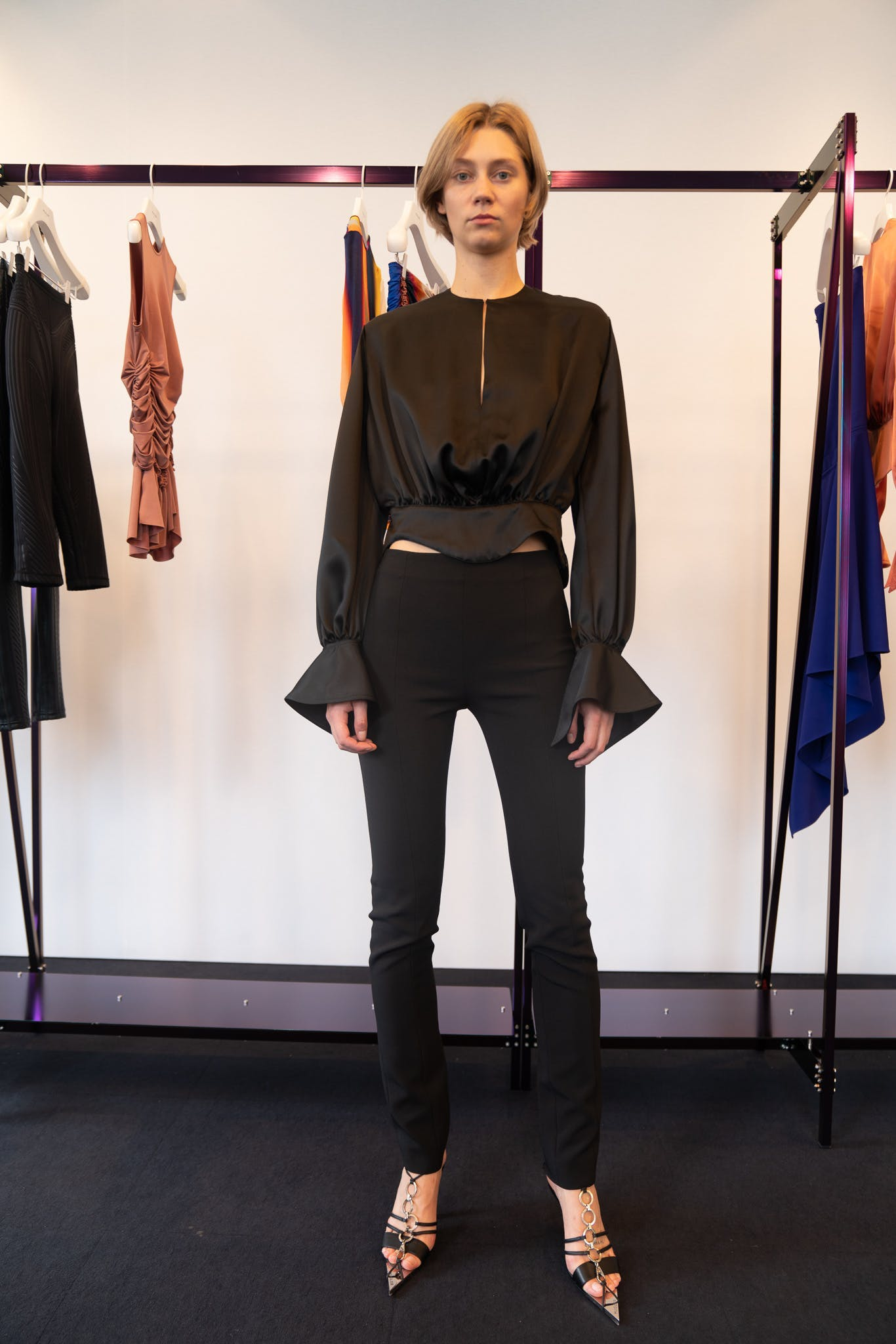 Mugler Showroom Long Sleeve Cropped Top Leggings in Black Spring 20 RTW