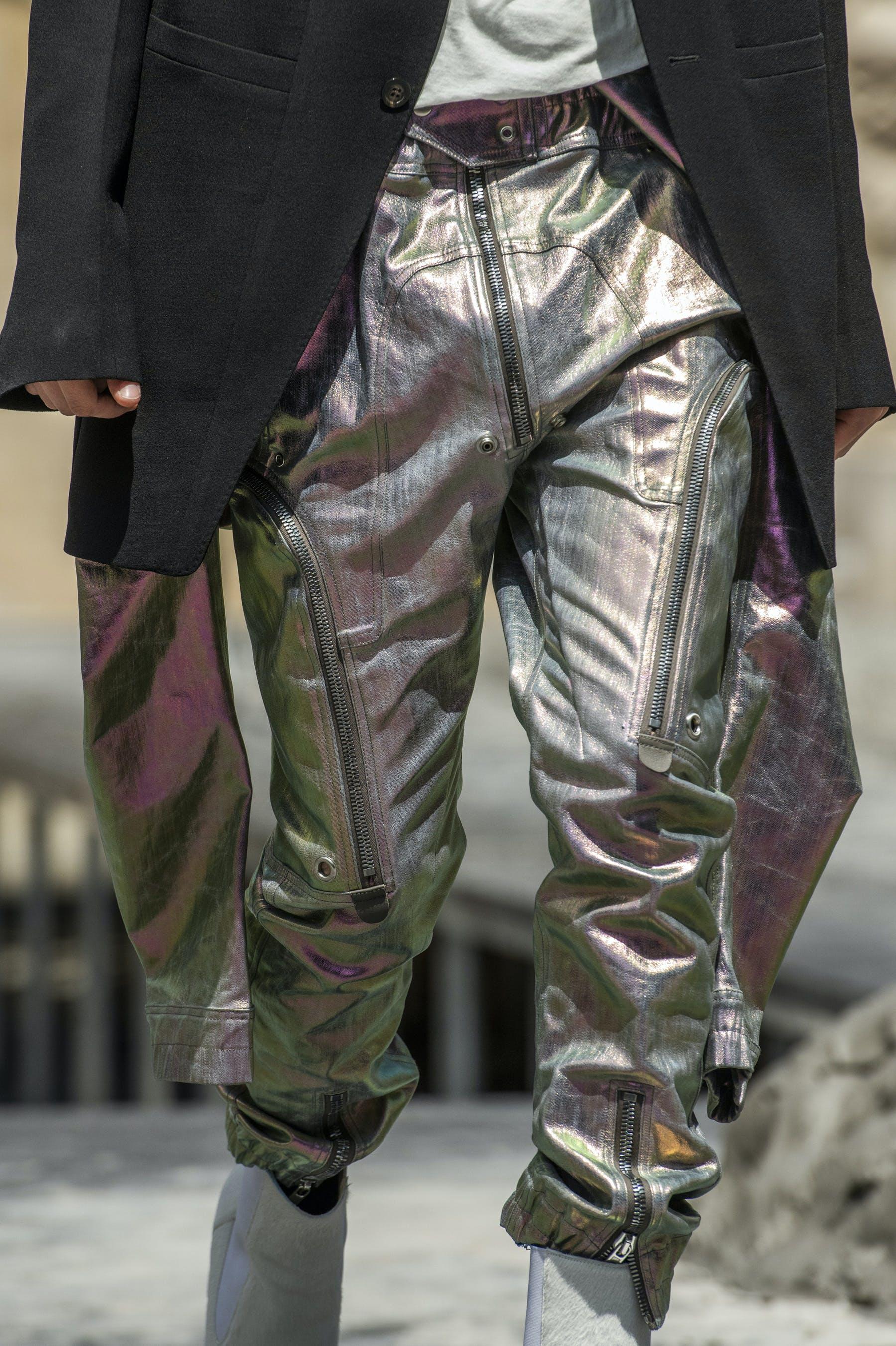 Rick Owens Runway Details Bauhaus Cargo Bodybag Jumpsuit in Iridescent Lemon Yellow Elastic Kiss Grill Boots In White With Transparent HeelMens SS20 Tecautl