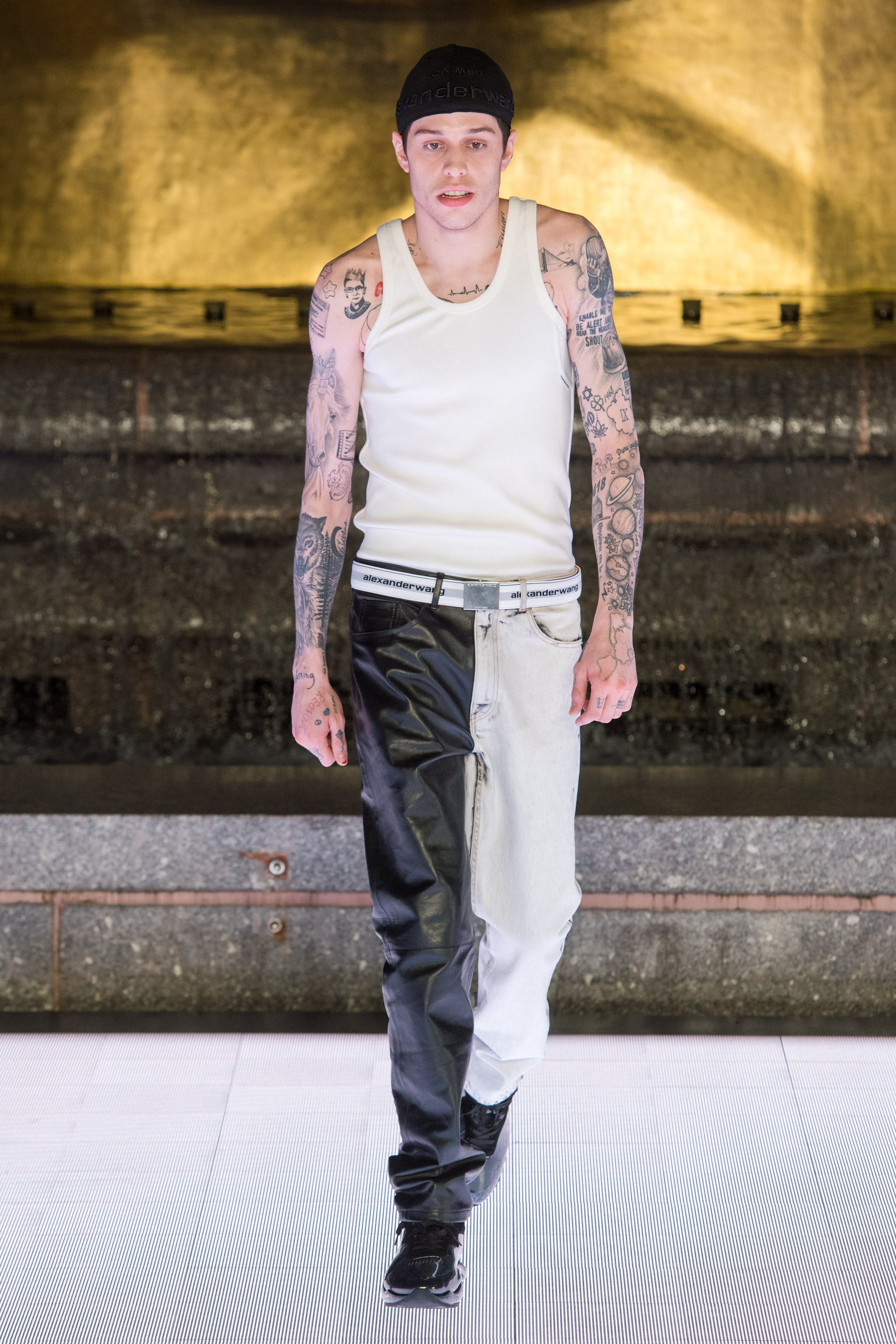 Alexander Wang Runway Pete Davidson in Tank Top in White Bicolor Denim Trousers Spring 20 RTW