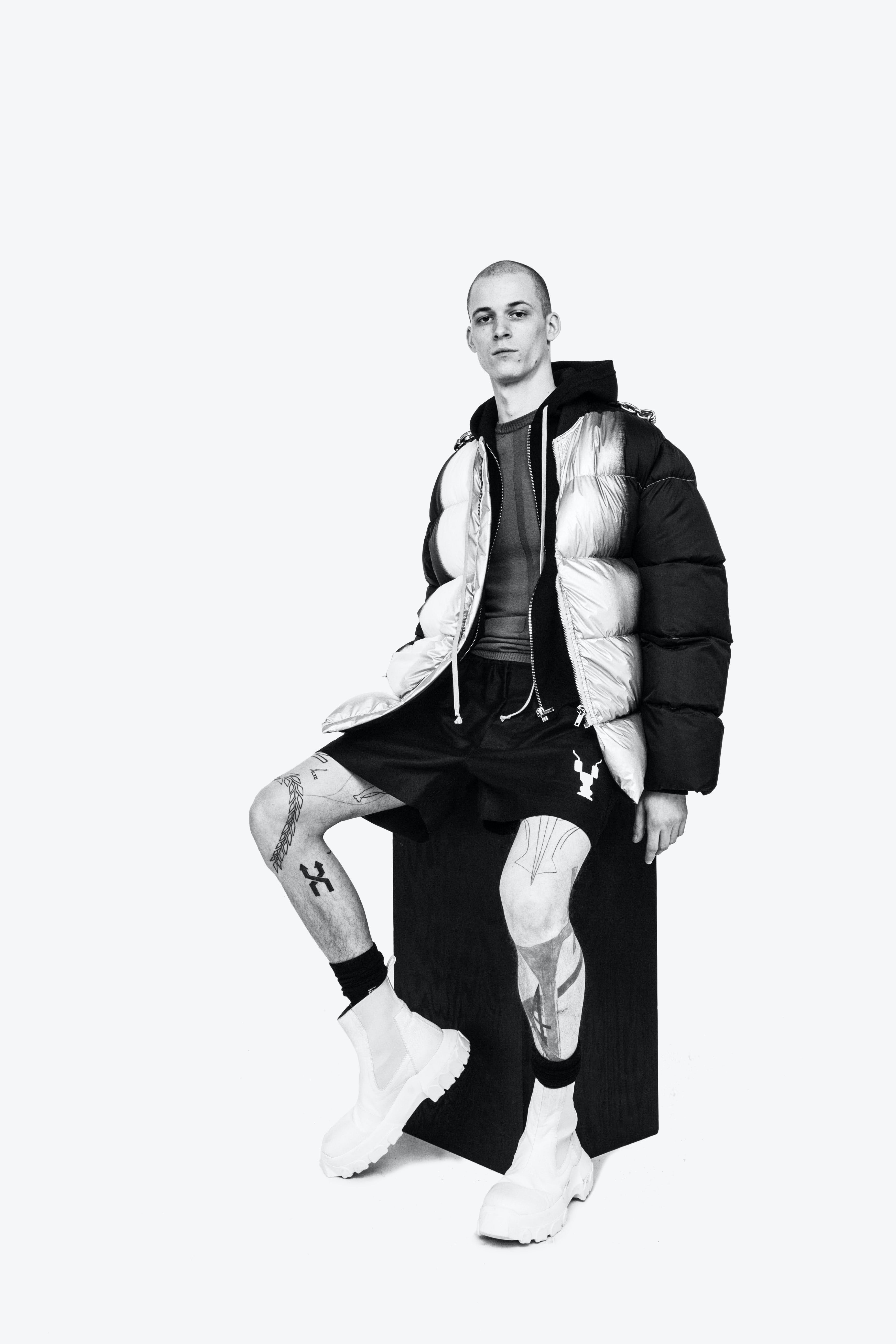 Rick Owens Campaign Duvet Puffer Jacket in Black and Silver Zip Up Hoddie DRKSHDW Shorts Mega Bozo Tractor Beetle Boots in Chalk White Mens SS19 Babel