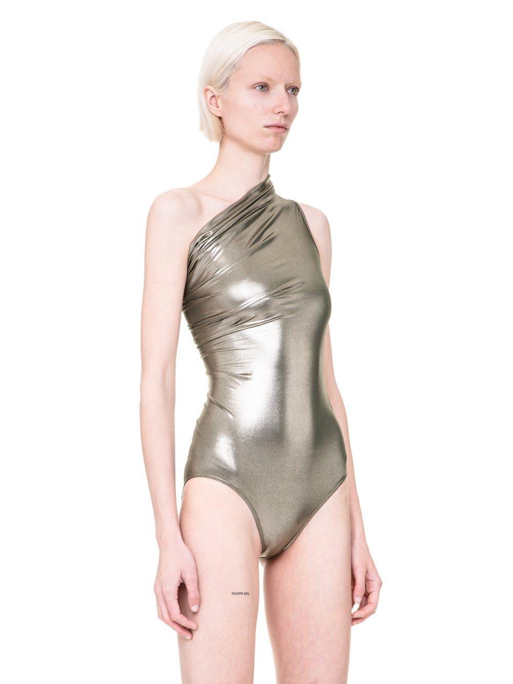 Rick Owens Metallic one-piece swimsuit.