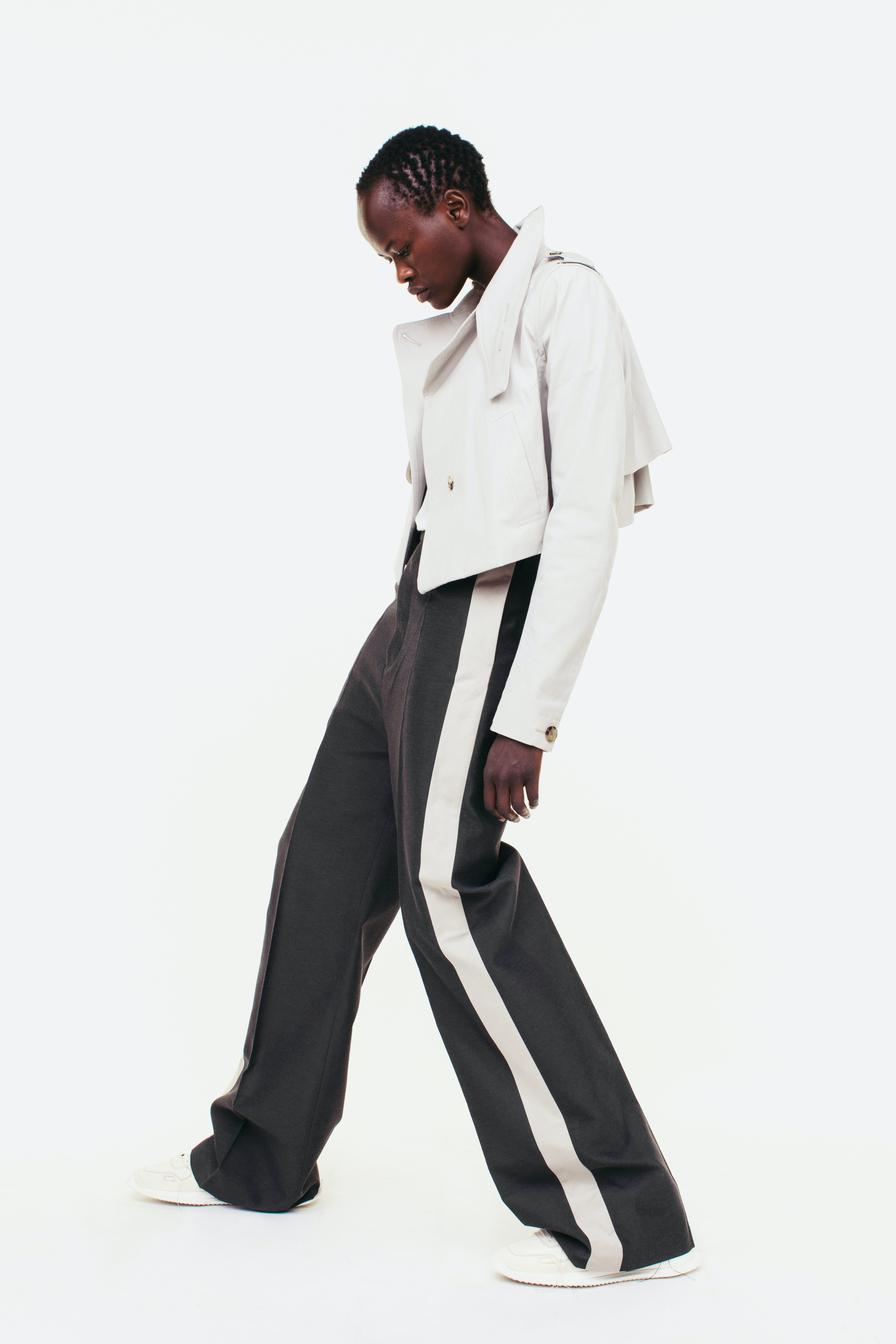 Rick Owens Campaign Short Trench Jacket in White Side Stripe Trousers in Grey Womens SS19 Pre Collection