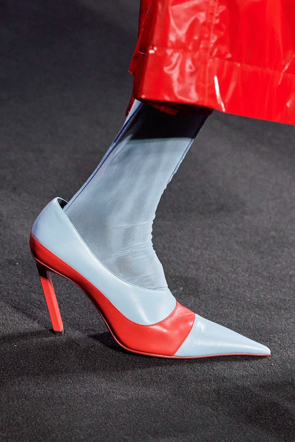 Mugler Runway Details Color Blocked Heels in Red and Light Blue Fall 20 RTW