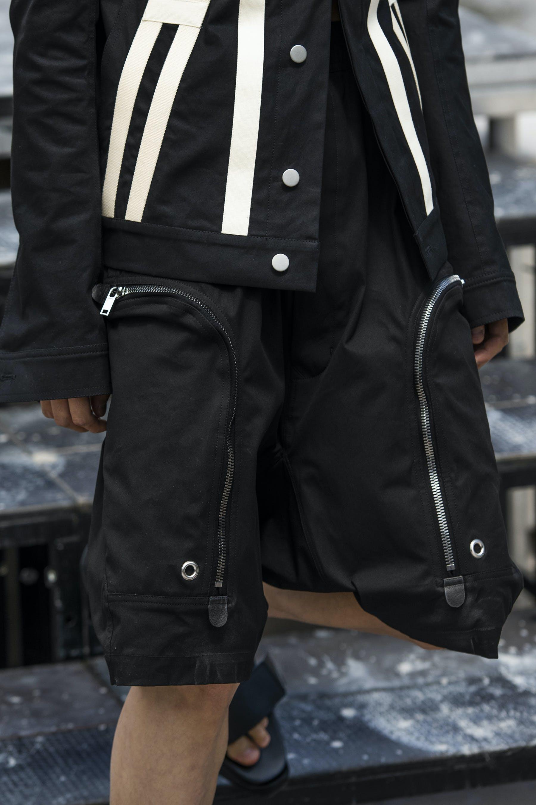 Rick Owens Runway Details Off The Runway Lab Pyramid Motif Jacket Cargo Pods In Black Mens SS20 Tecautl