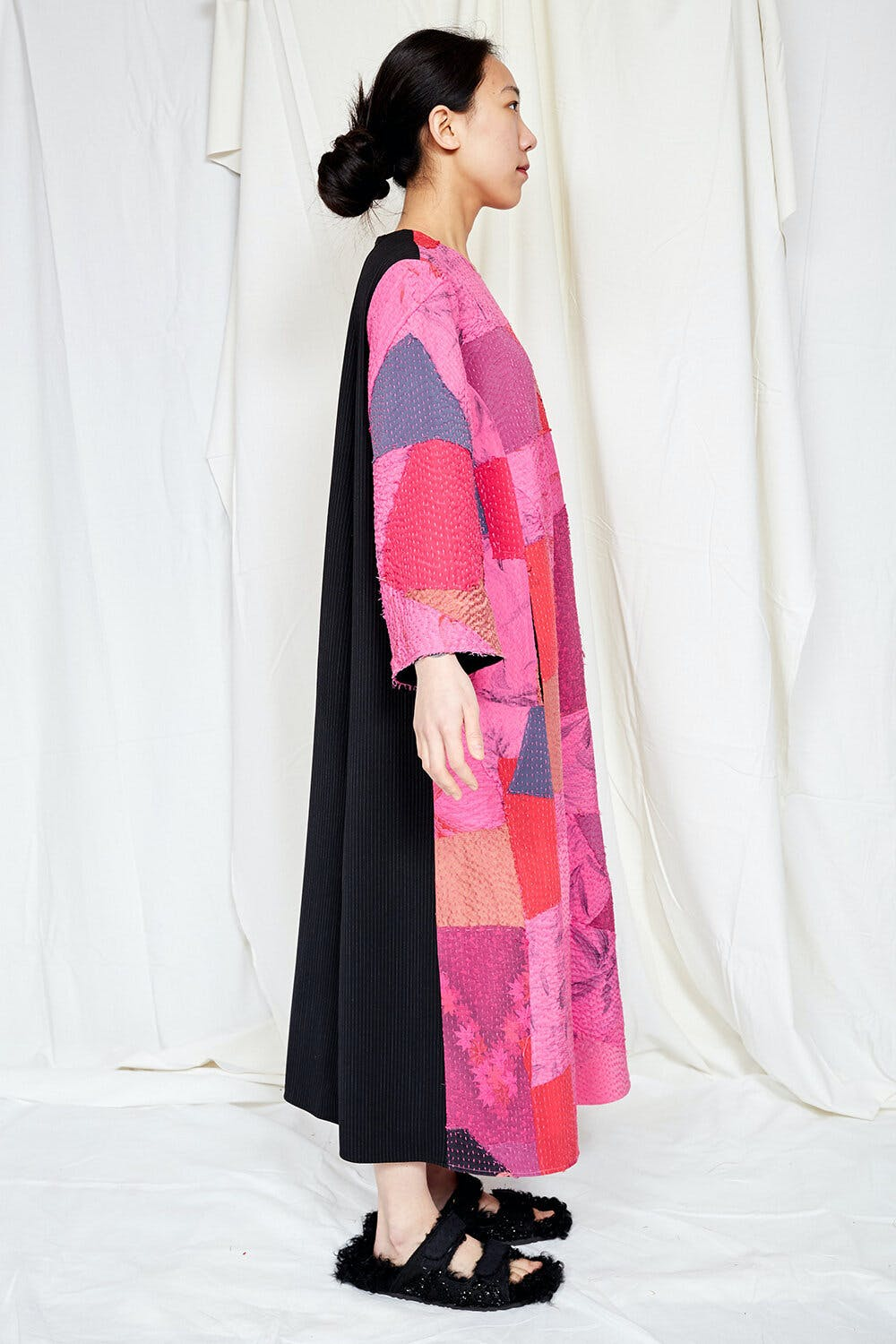 By Walid Womenswear Yasmine Front Patchwork Embroidered Coat in Pink AW20